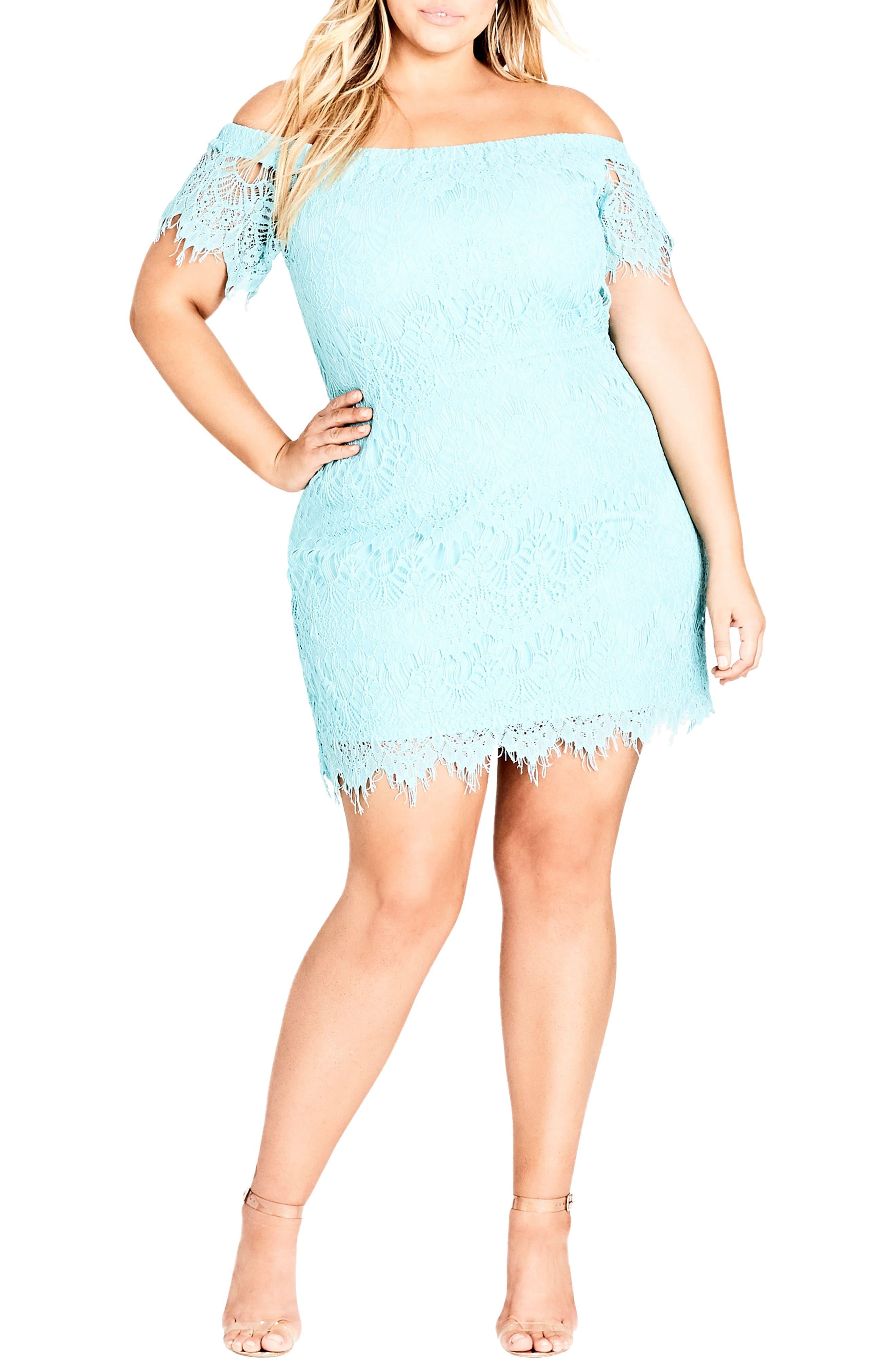 Off the Shoulder Lace Dress,                         Main,                         color, MINT