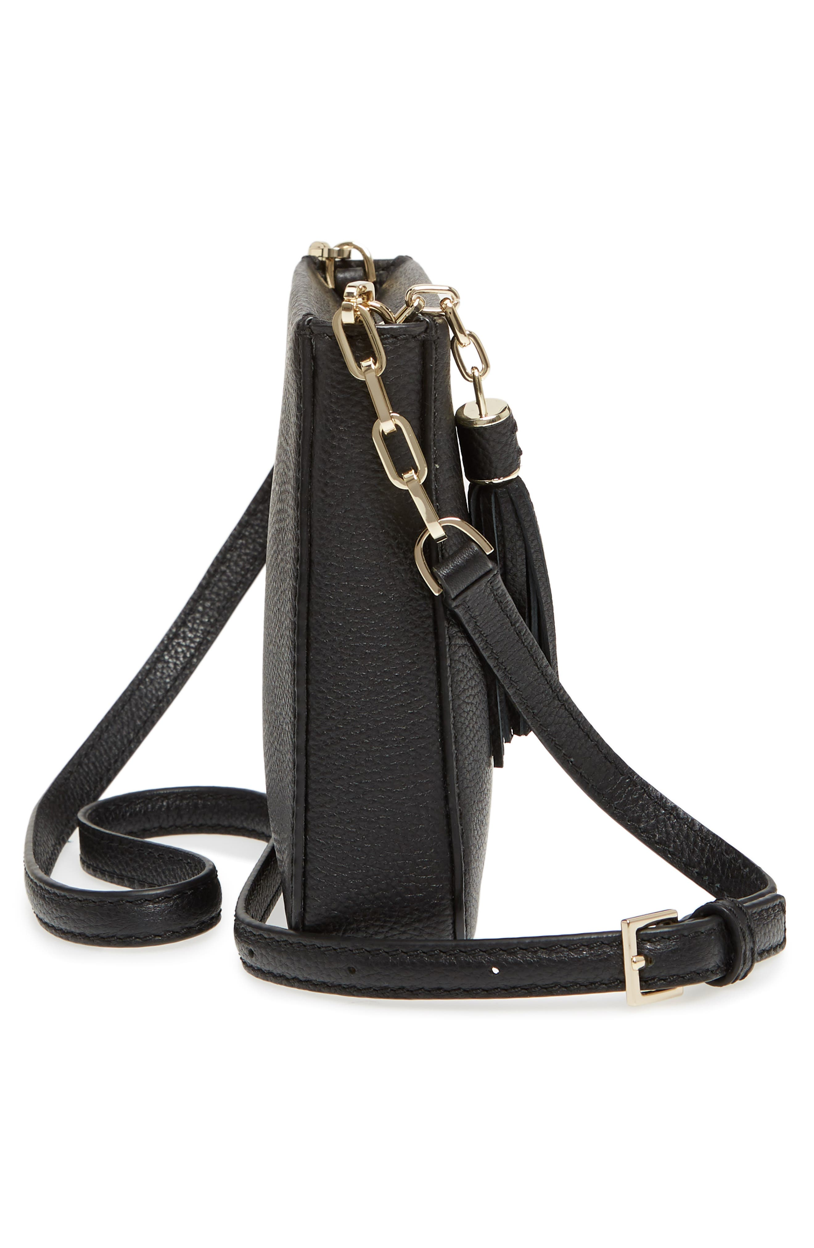 kingston drive - alessa leather shoulder/crossbody bag,                             Alternate thumbnail 5, color,                             001