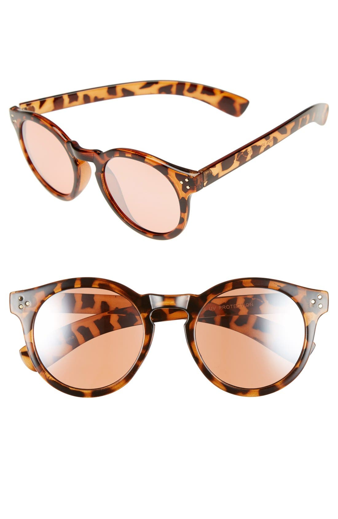 50mm Mirrored Round Sunglasses,                             Main thumbnail 1, color,                             040