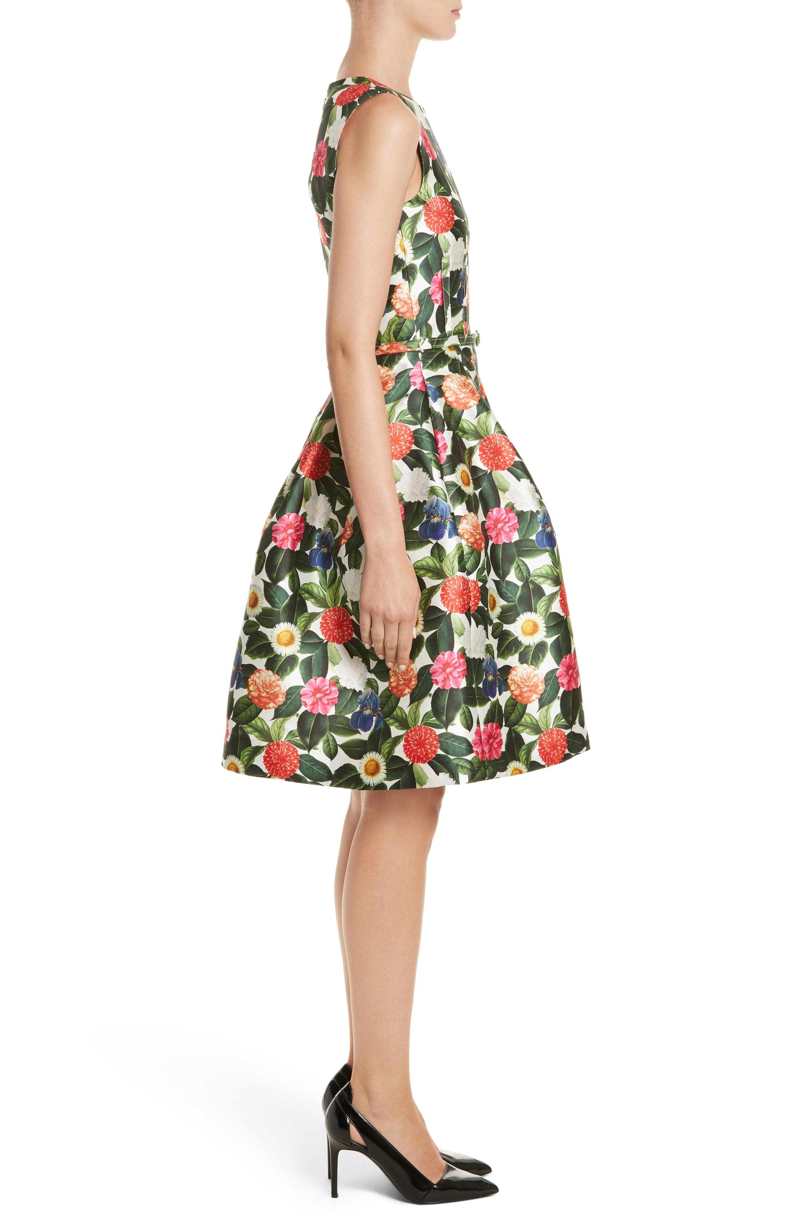 Floral Silk Mikado Fit & Flare Dress,                             Alternate thumbnail 3, color,