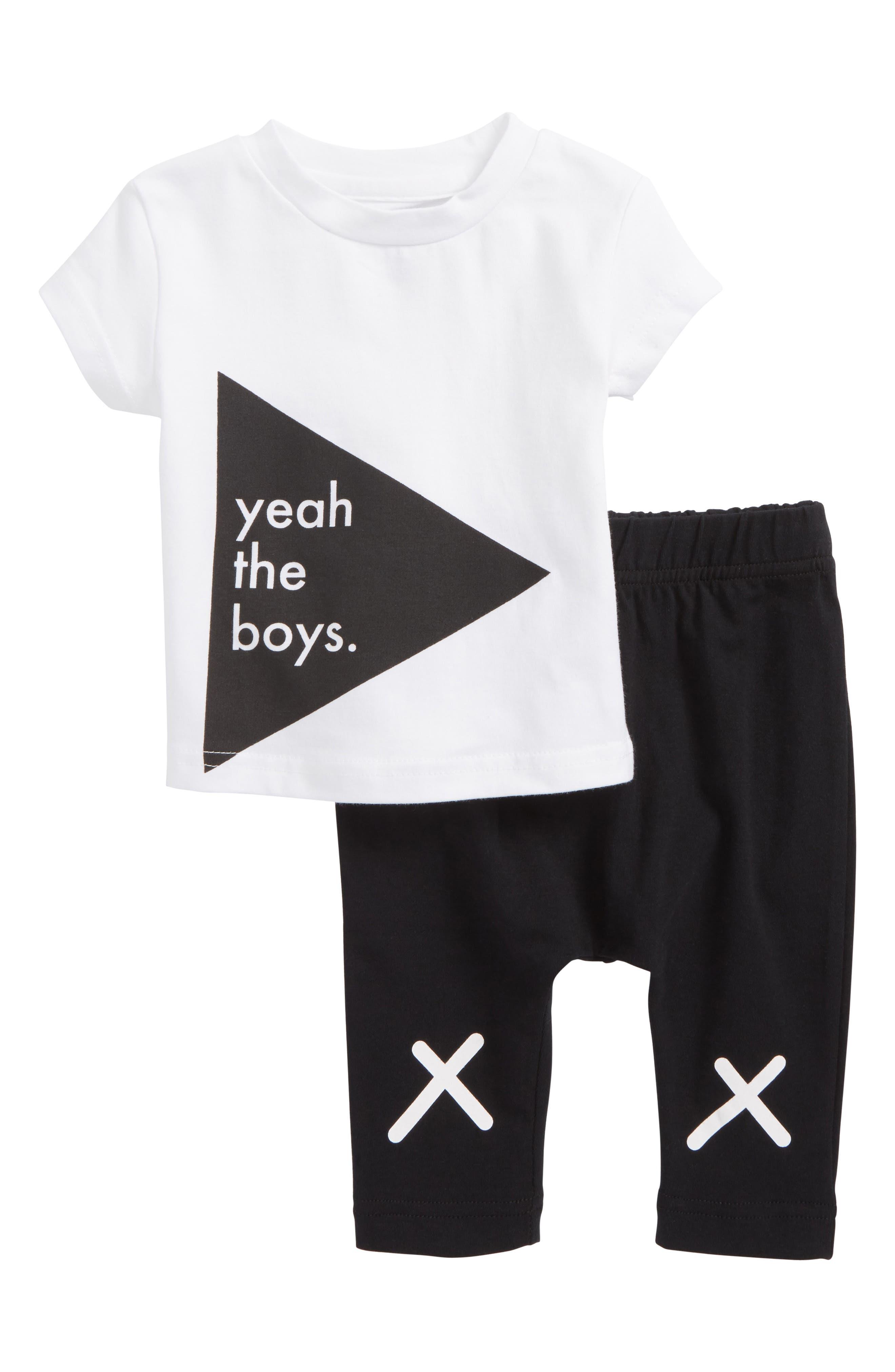 Yeah the Boys T-Shirt & Pants Set,                         Main,                         color, 199