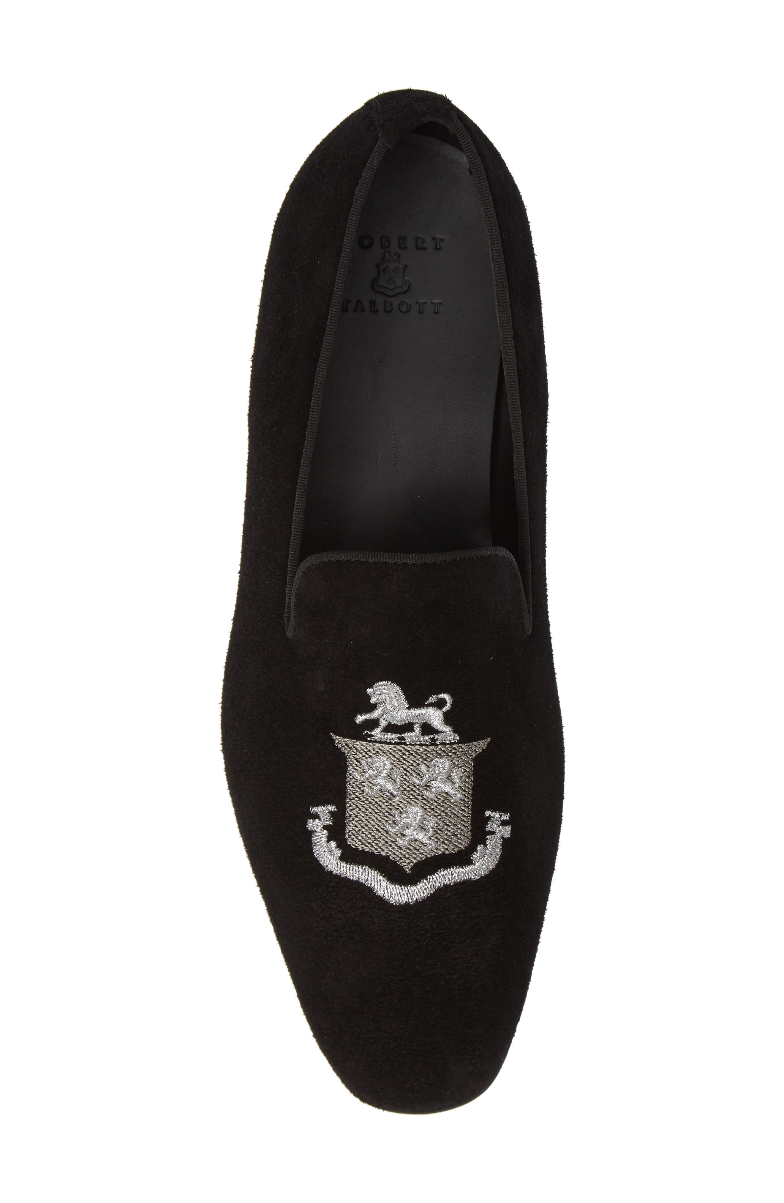 Altos Embroidered Venetian Loafer,                             Alternate thumbnail 5, color,                             BLACK SUEDE