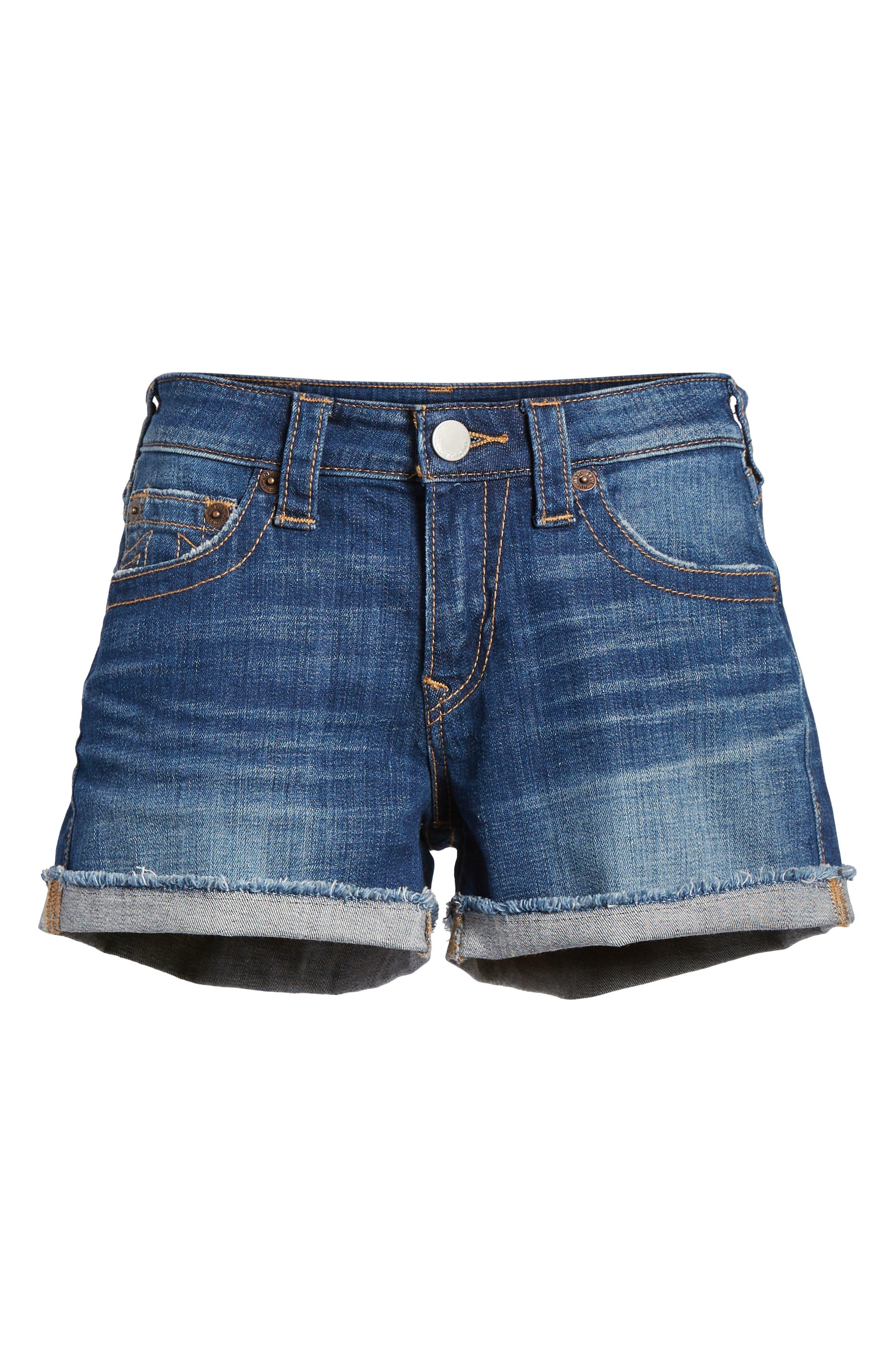 Jennie Curvy Denim Shorts,                             Alternate thumbnail 7, color,                             402