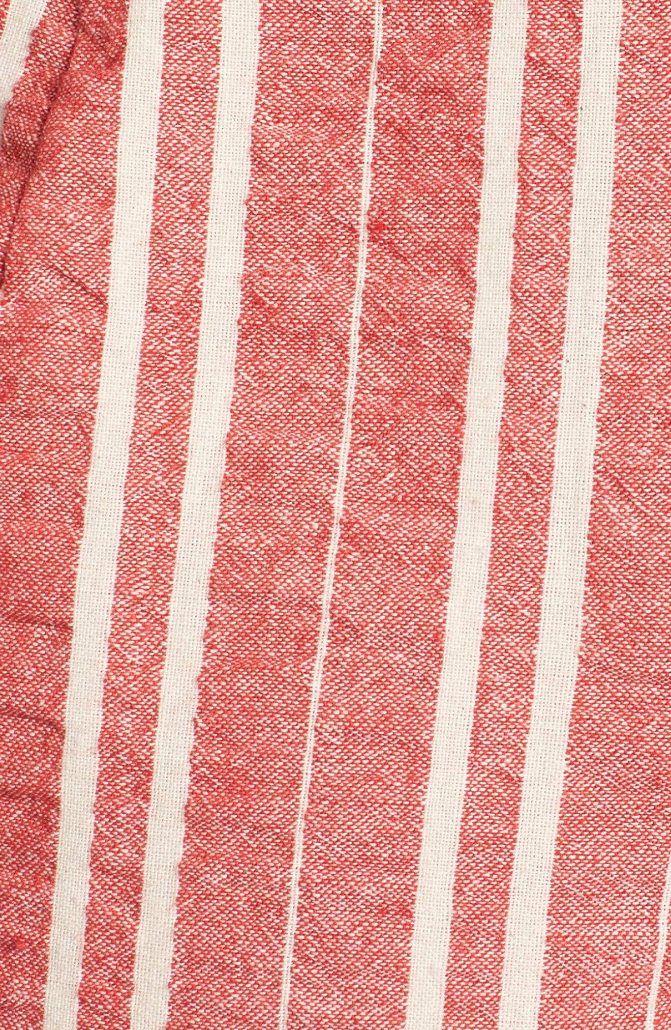 Robin Stripe Crop Jumpsuit,                             Alternate thumbnail 5, color,                             RED