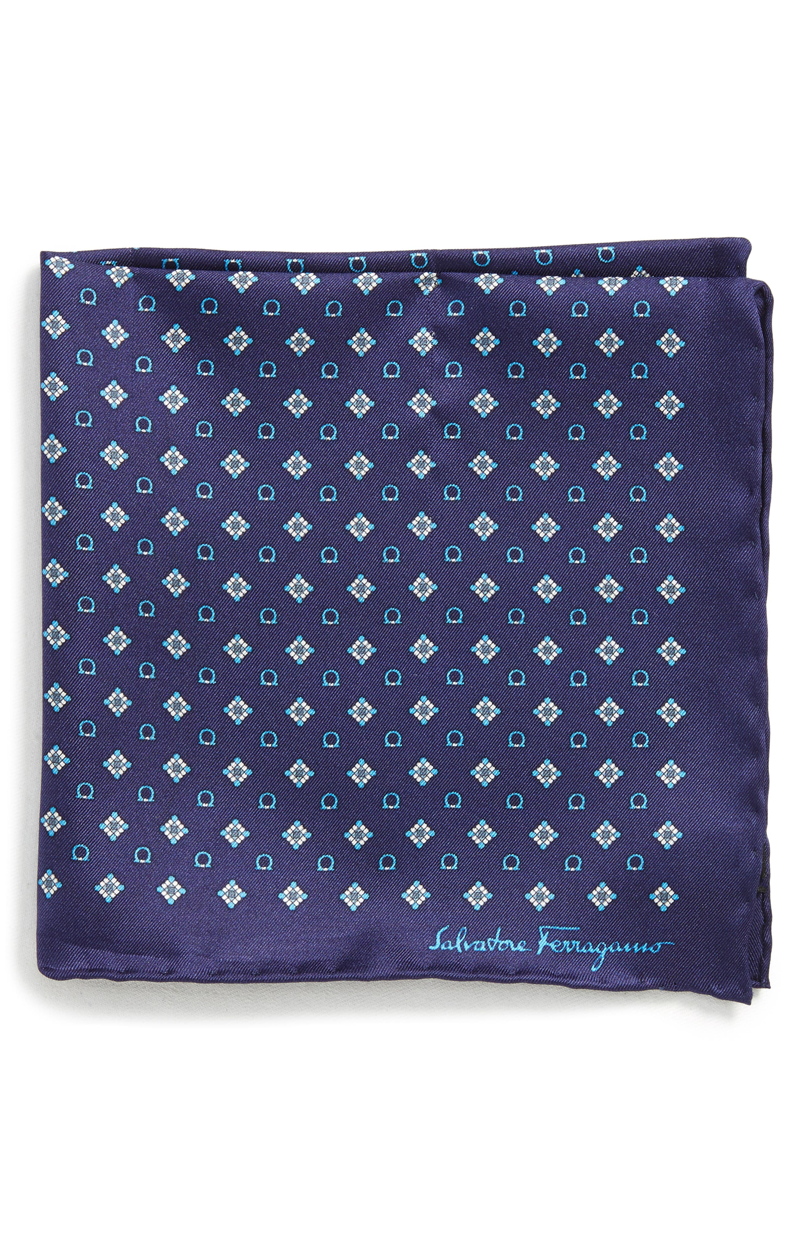 Edison Medallion Silk Pocket Square,                             Main thumbnail 1, color,                             MARINE