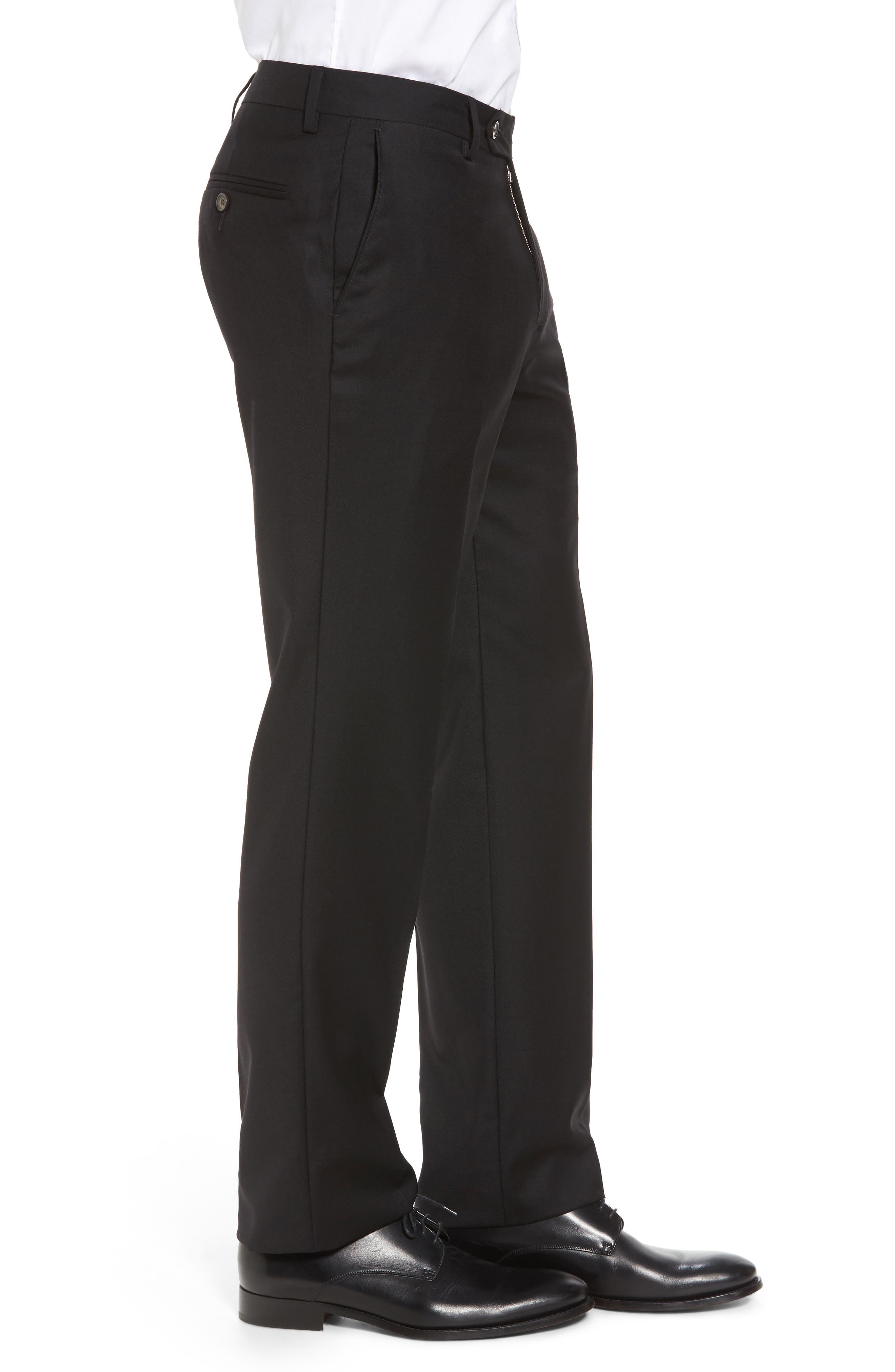 Flat Front Stretch Solid Wool Trousers,                             Alternate thumbnail 4, color,                             001