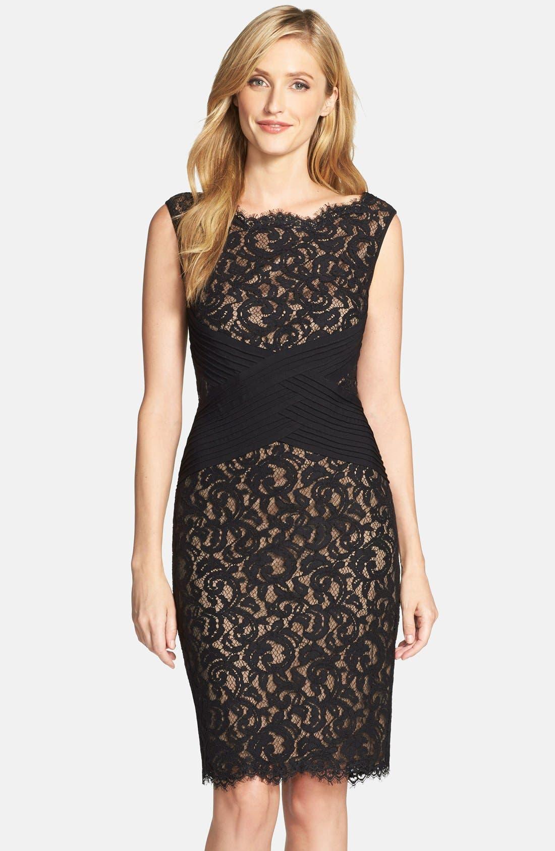 Crisscross Waist Lace Sheath Dress,                         Main,                         color, 004