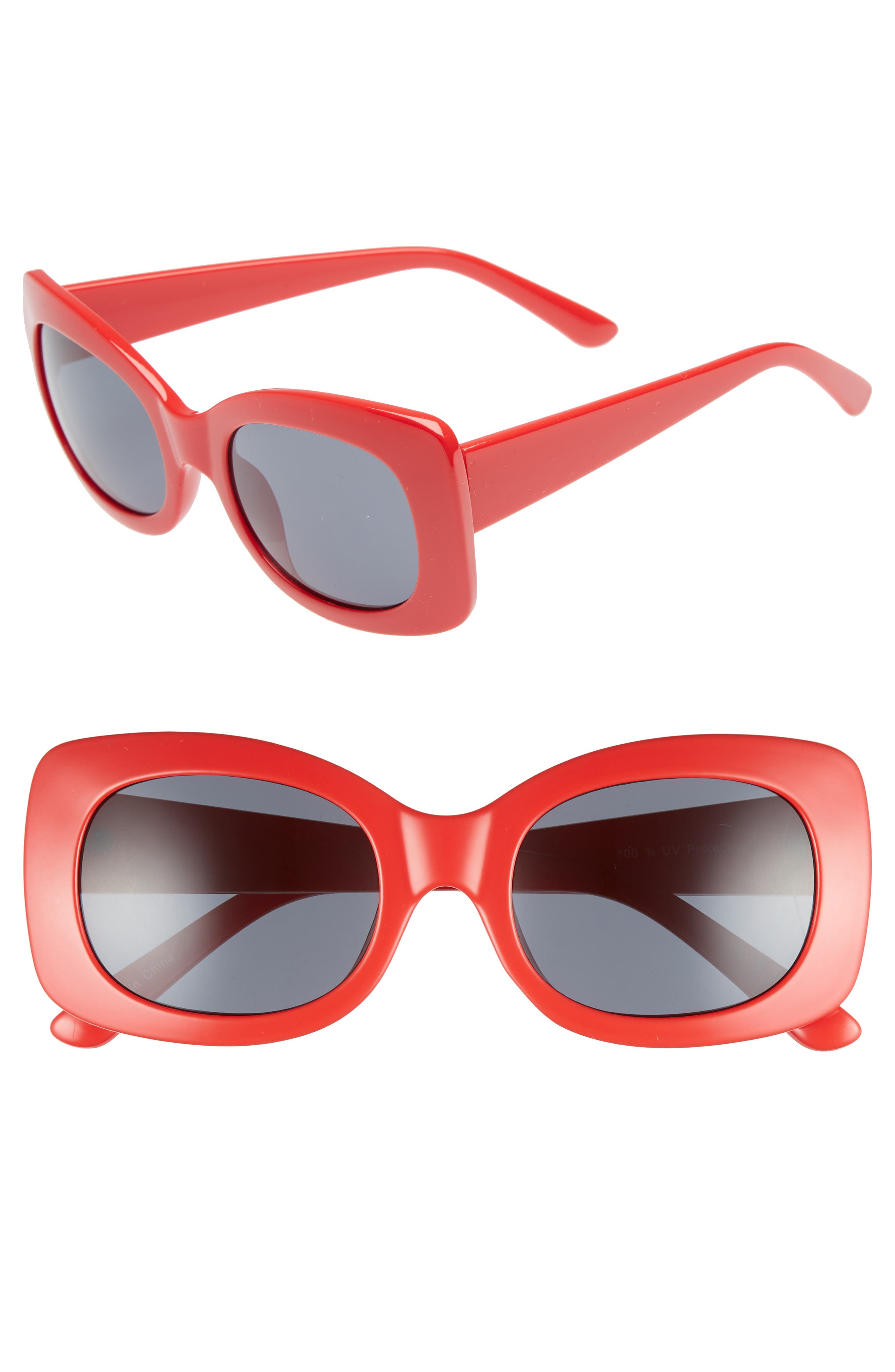 51mm Square Sunglasses,                             Main thumbnail 1, color,                             RED/ BLACK