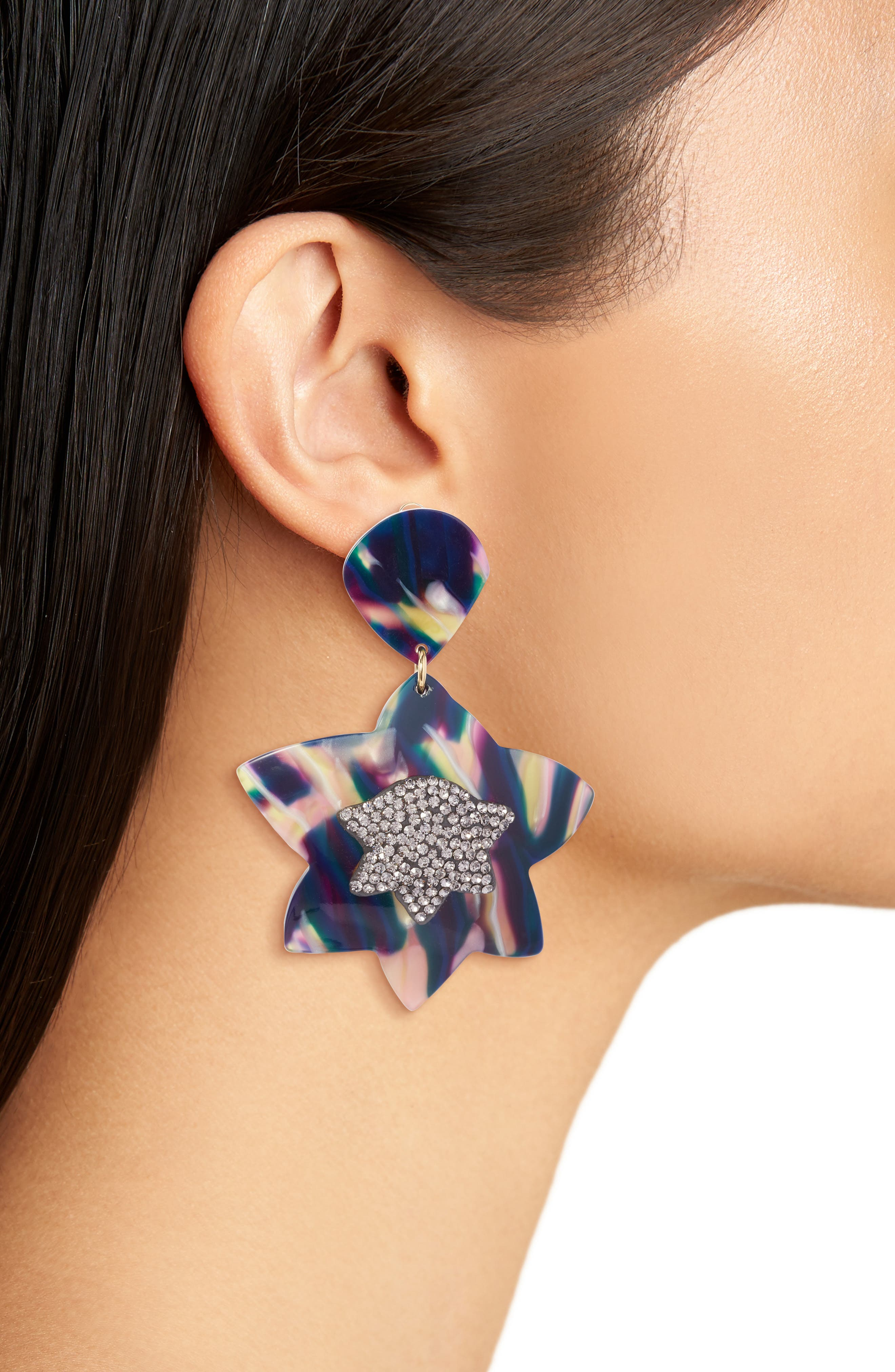 Crystal Star Drop Earrings,                             Alternate thumbnail 2, color,