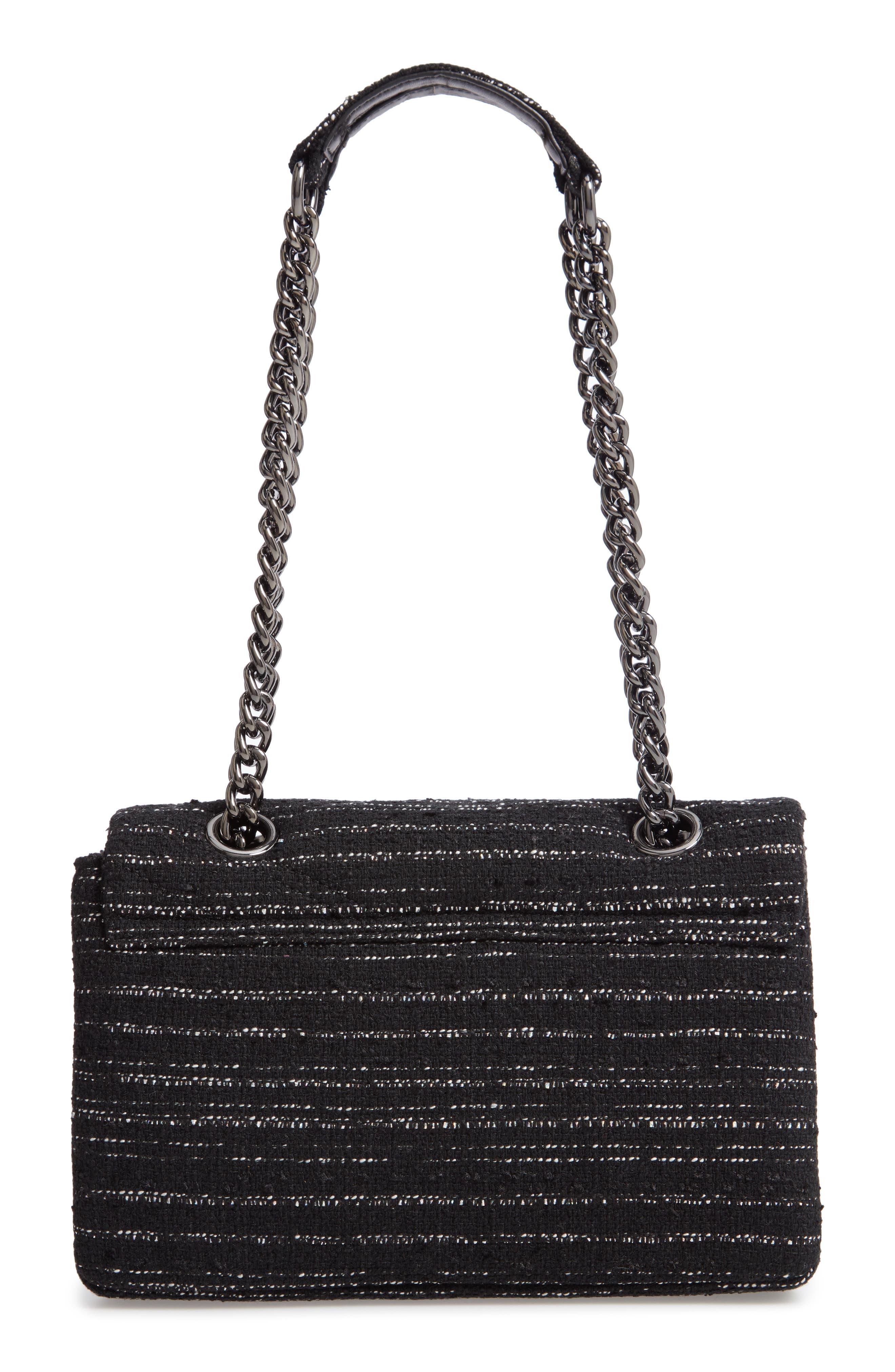 Mayfair Quilted Tweed Shoulder Bag,                             Alternate thumbnail 3, color,                             BLACK