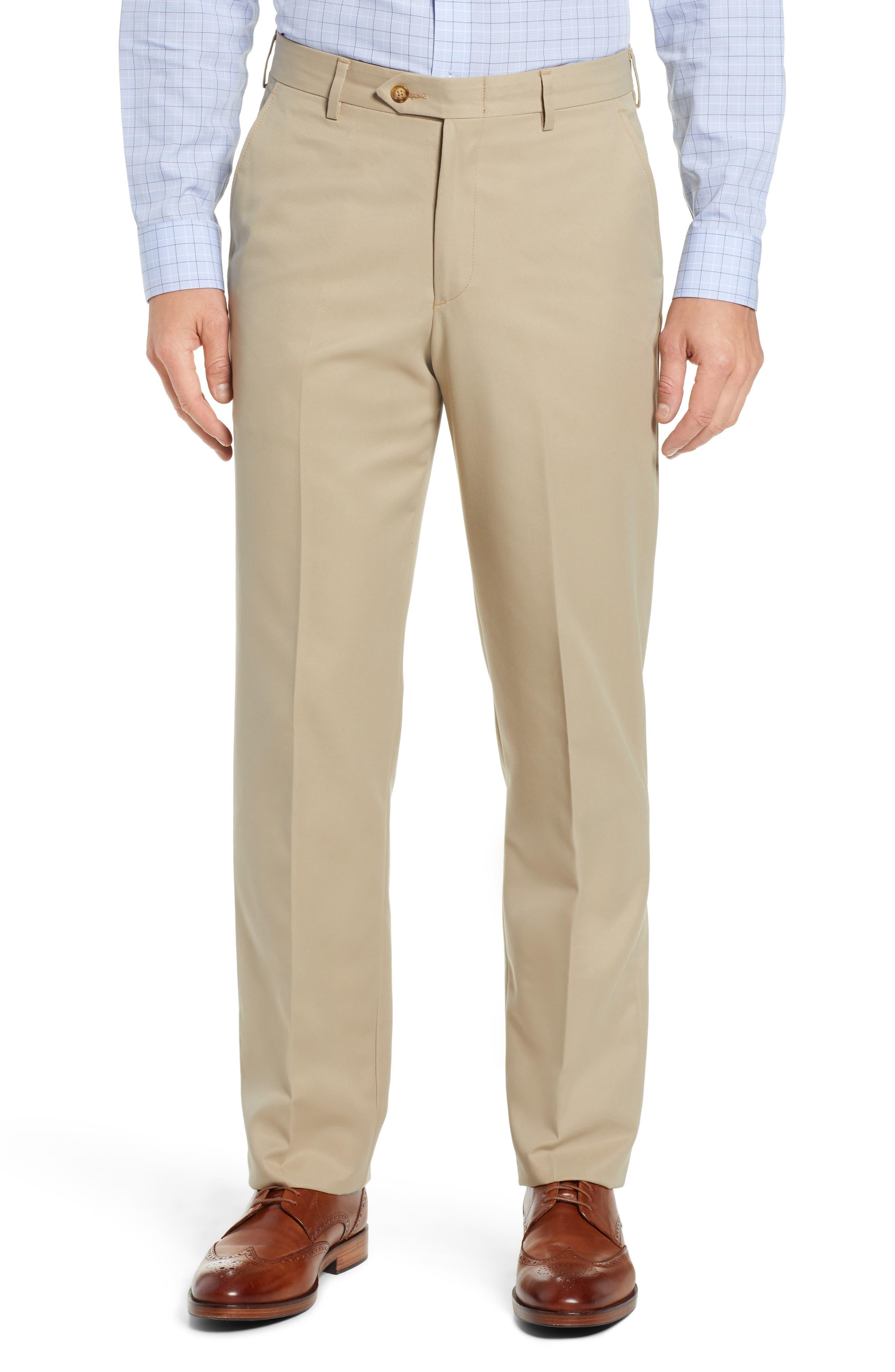 Classic Fit Flat Front Microfiber Performance Trousers,                             Main thumbnail 1, color,                             TAN