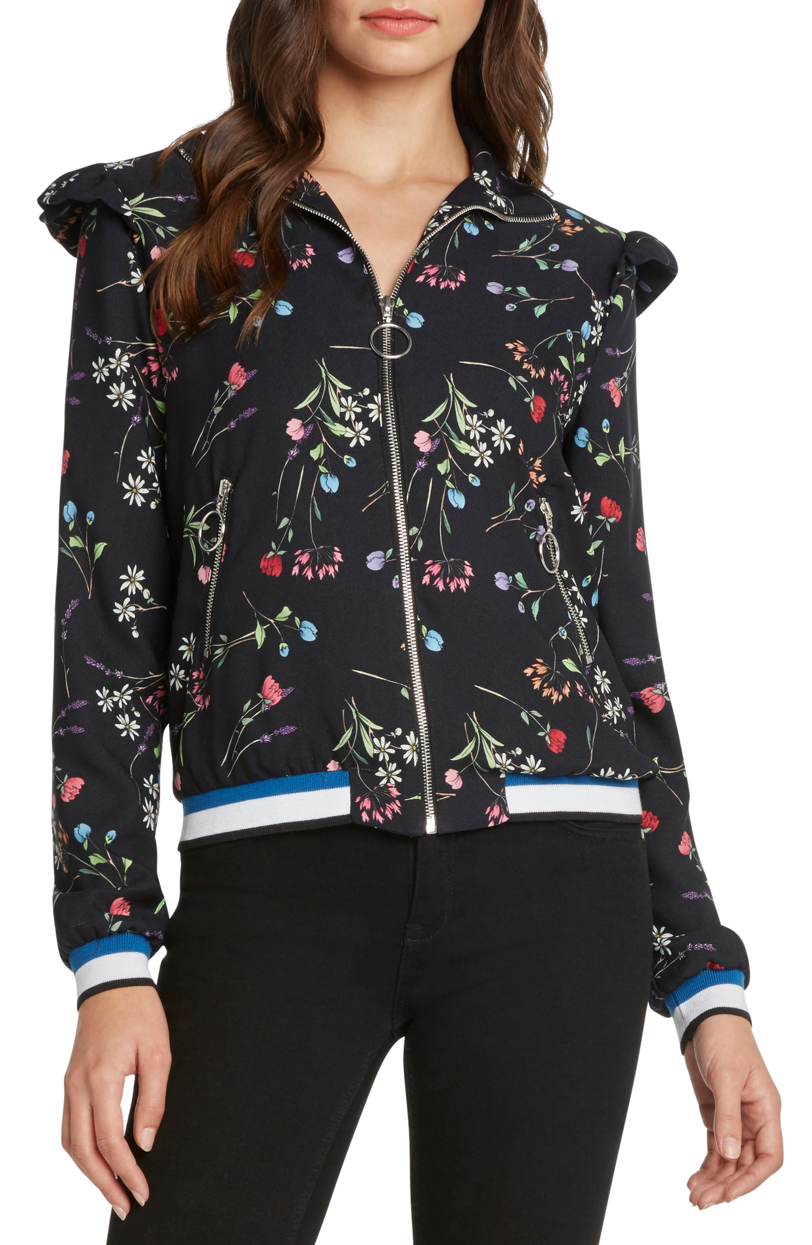 Floral Track Jacket,                             Main thumbnail 1, color,                             001