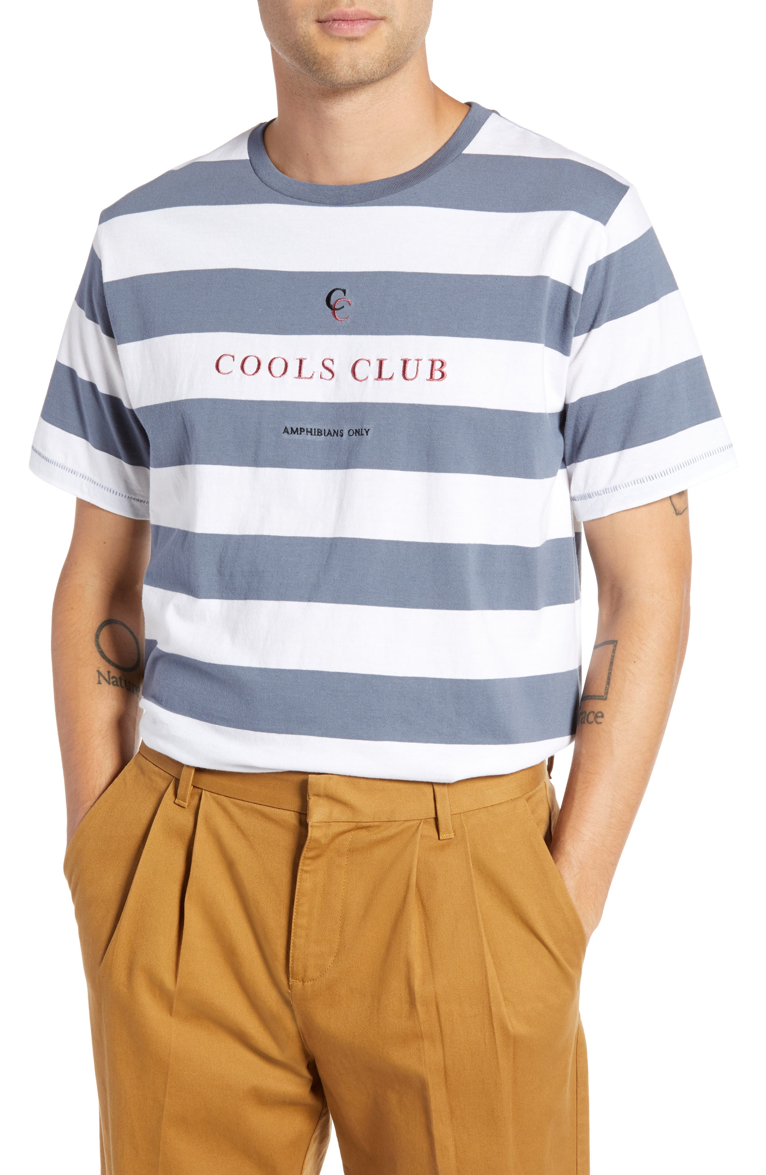 Embroidered Cools Club Stripe T-Shirt,                             Main thumbnail 1, color,                             NAVY STRIPE