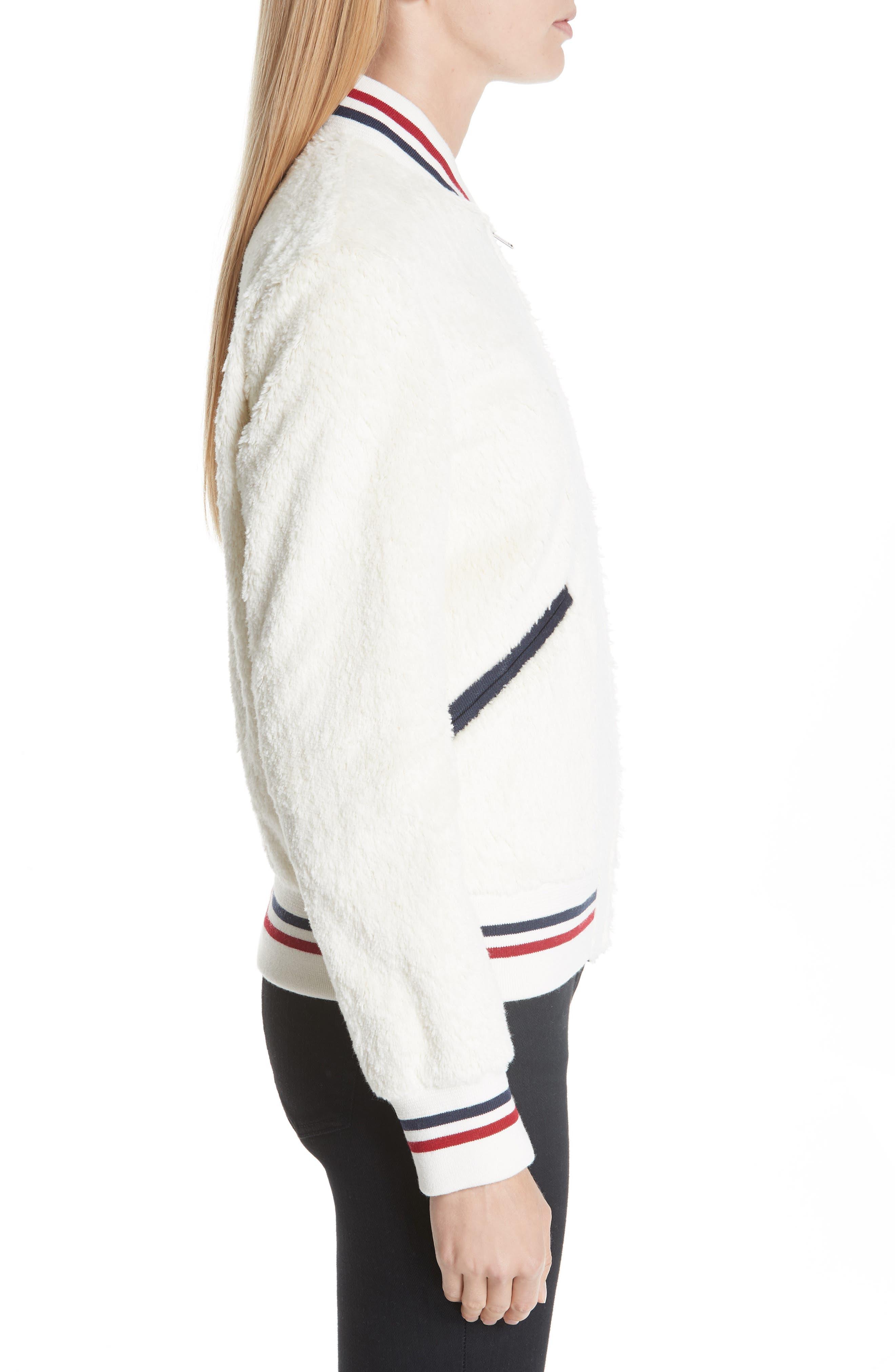 SAINT LAURENT,                             Teddy Faux Fur Bomber Jacket,                             Alternate thumbnail 3, color,                             WHITE
