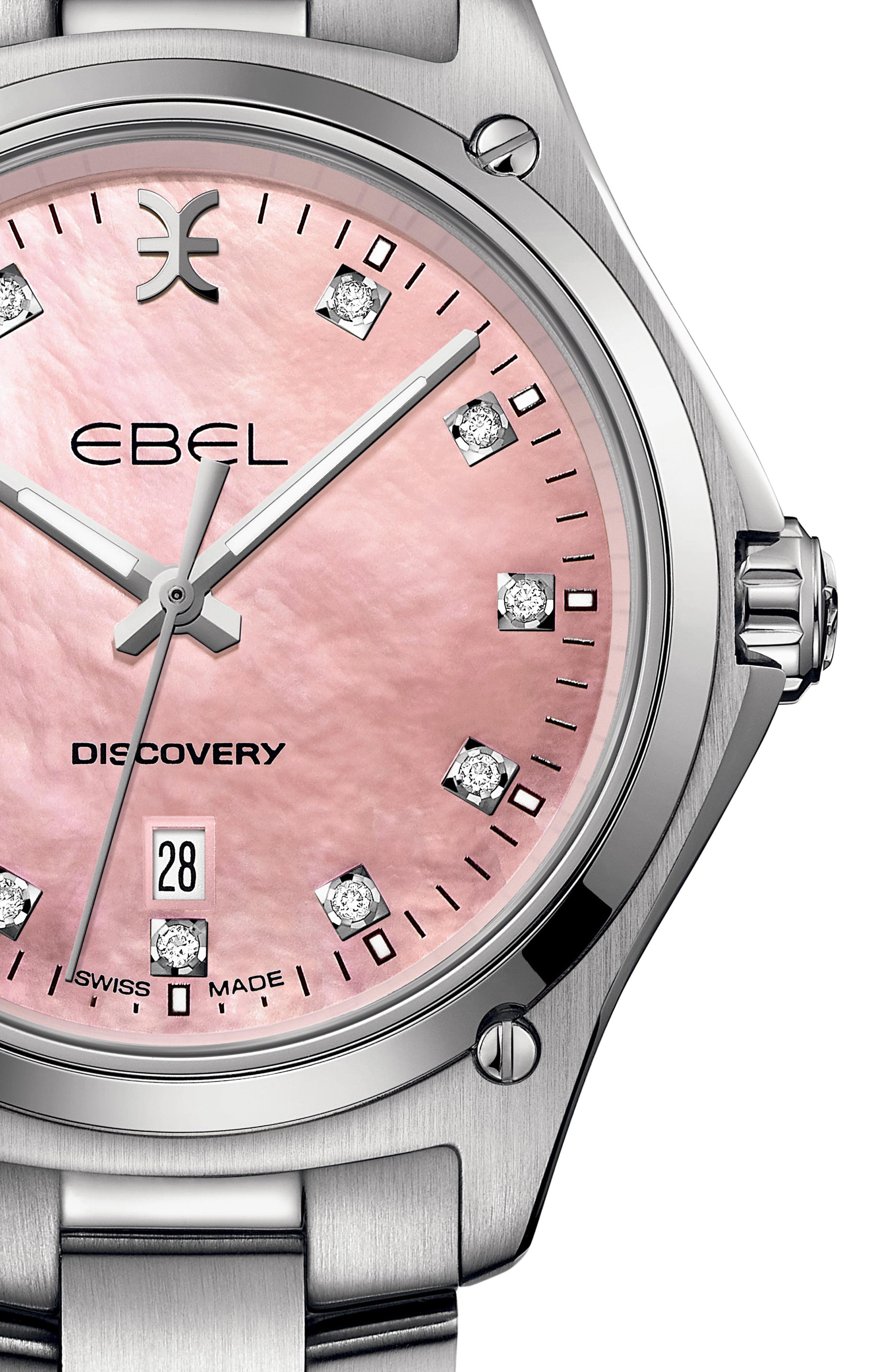 Discovery Diamond Bracelet Watch, 33mm,                             Alternate thumbnail 4, color,                             SILVER/ PINK MOP/ SILVER