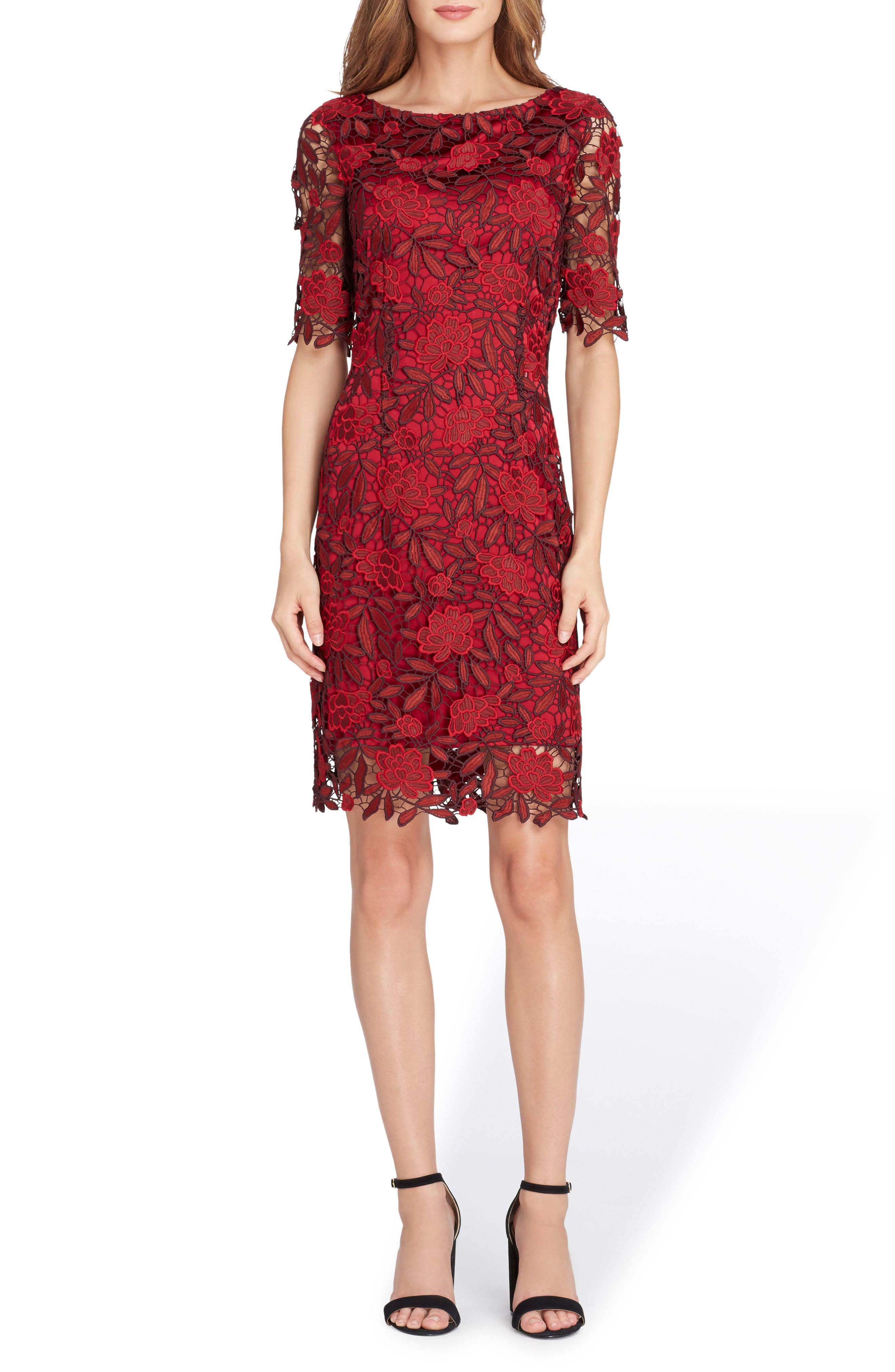 Lace Overlay Sheath Dress,                             Main thumbnail 1, color,                             648
