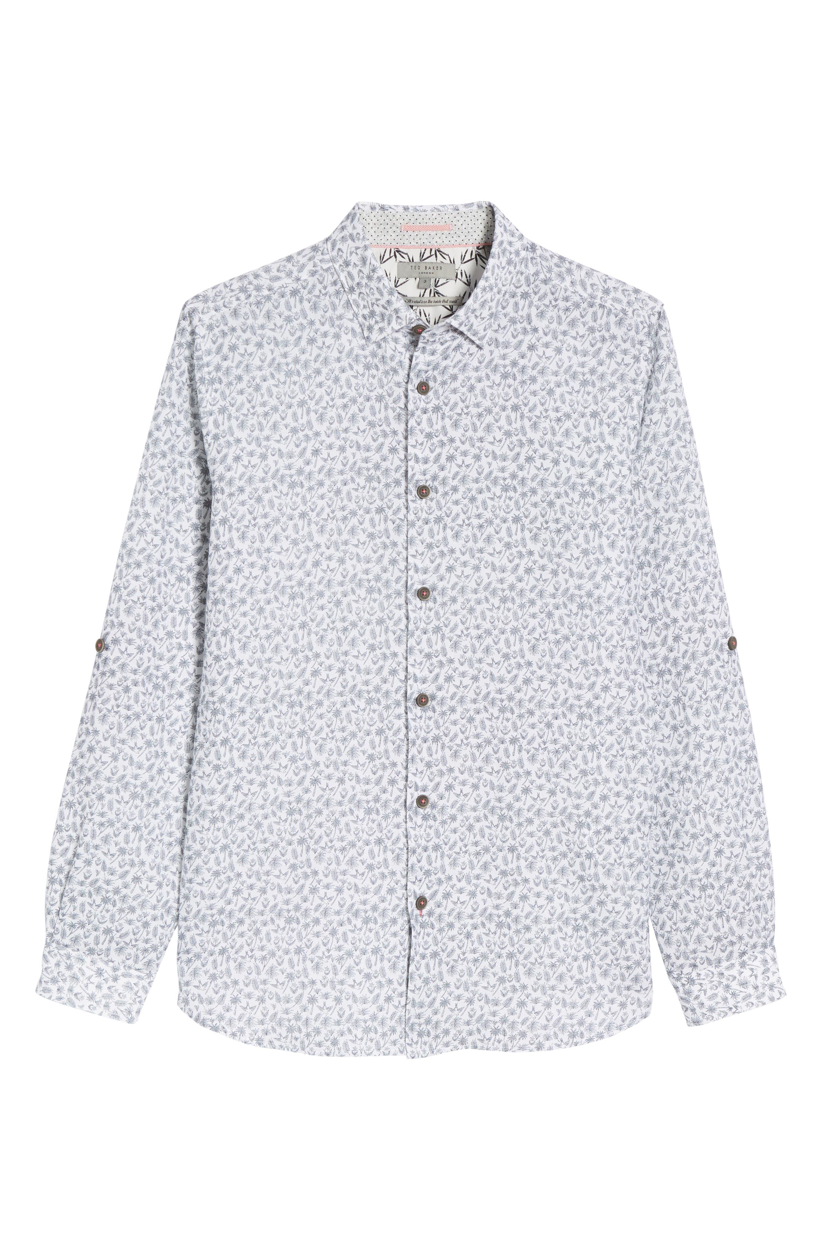 Nazta Trim Fit Tropical Print Sport Shirt,                             Alternate thumbnail 6, color,                             WHITE