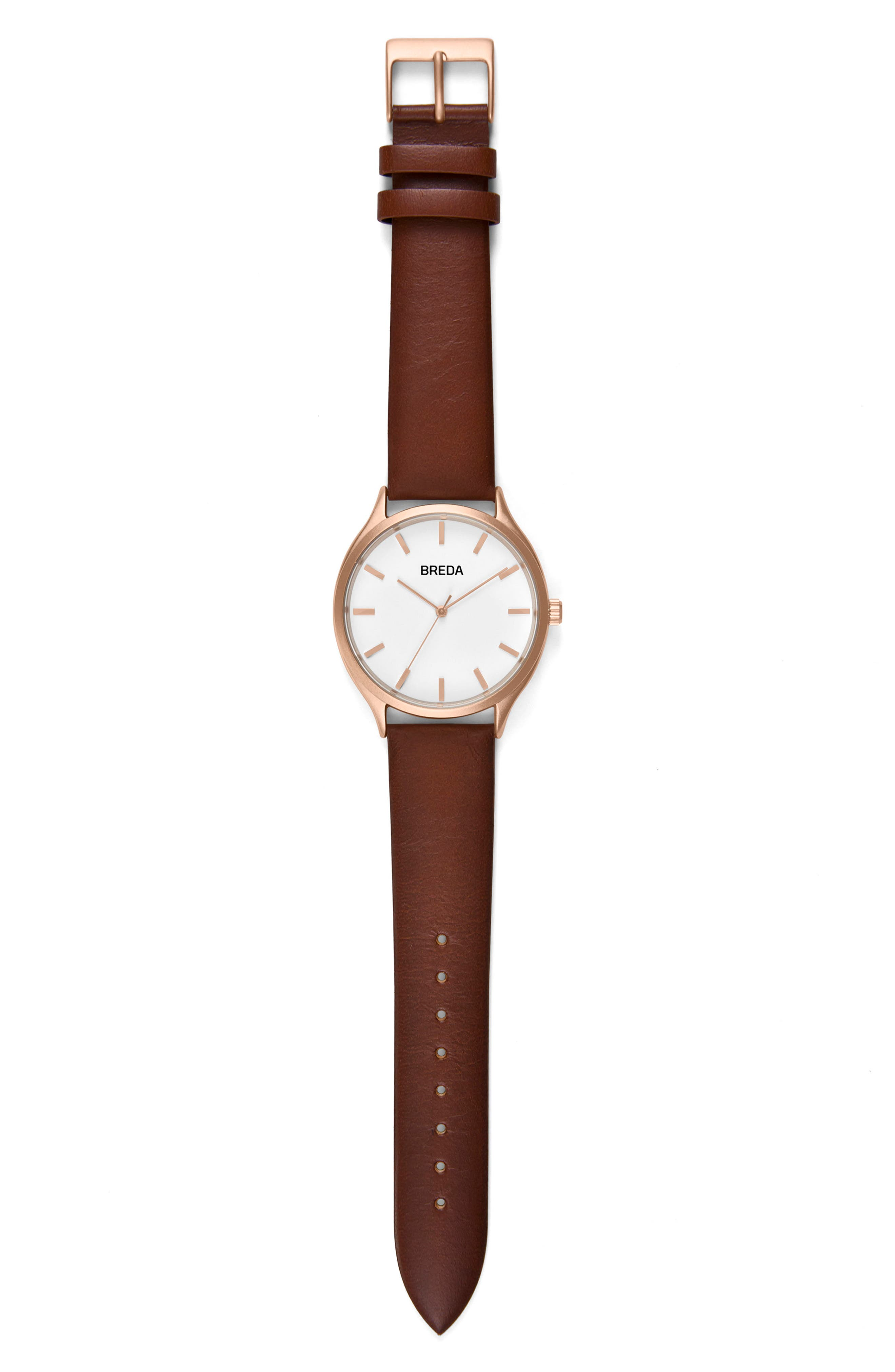 Asper Round Leather Strap Watch, 40mm,                         Main,                         color, BROWN/ WHITE/ ROSE GOLD