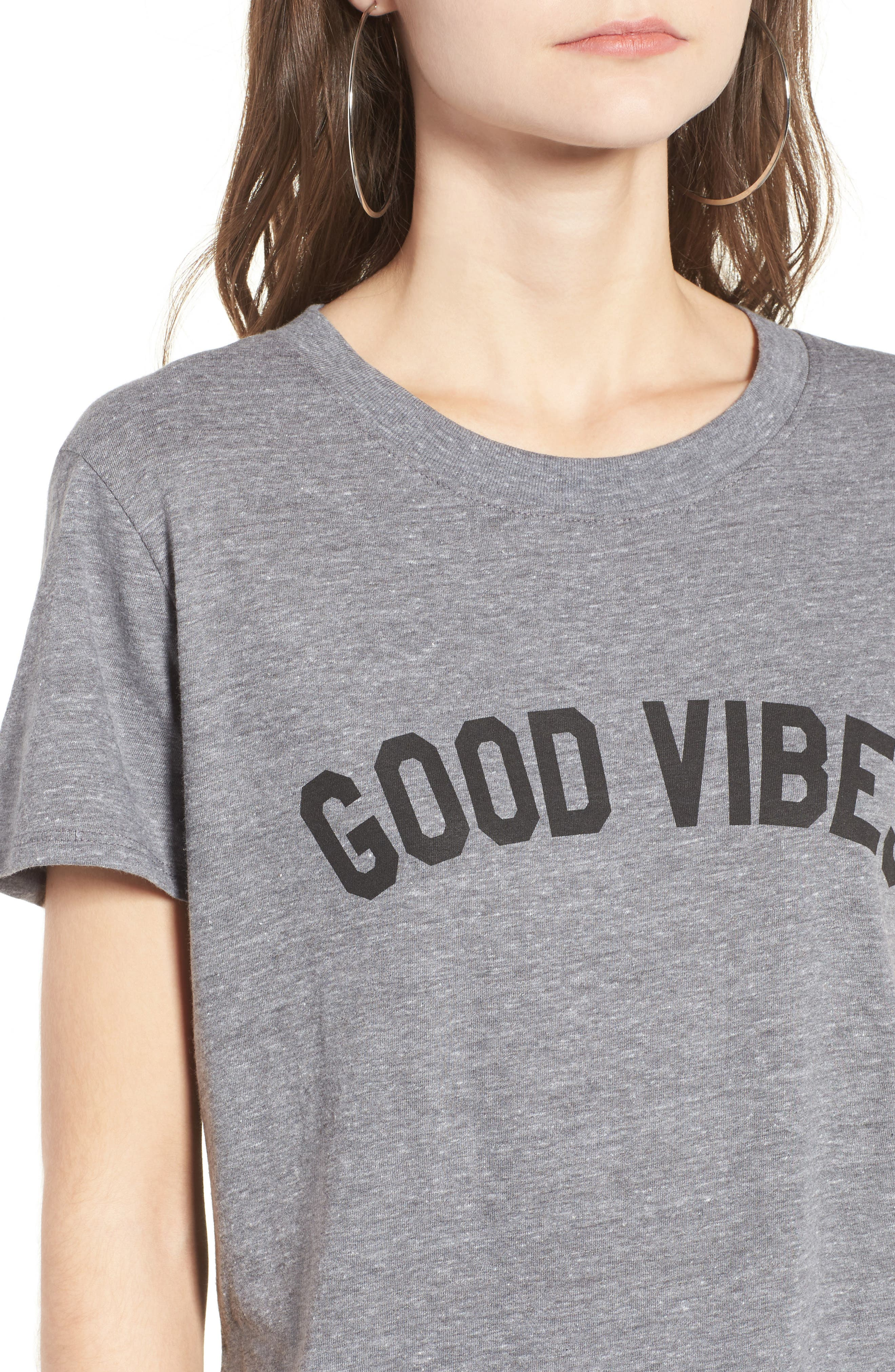 'Good Vibes' Graphic Tee,                             Alternate thumbnail 4, color,                             HEATHER GREY
