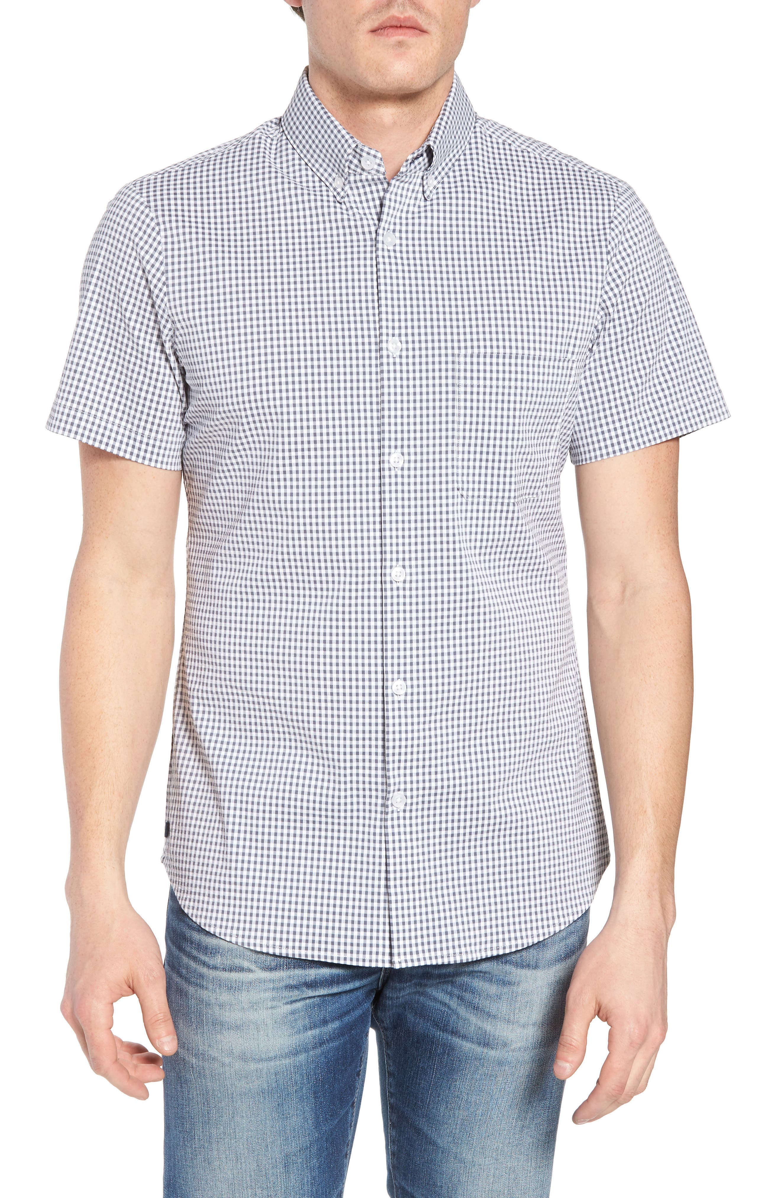 Harrison Seersucker Check Performance Sport Shirt,                         Main,                         color, NAVY