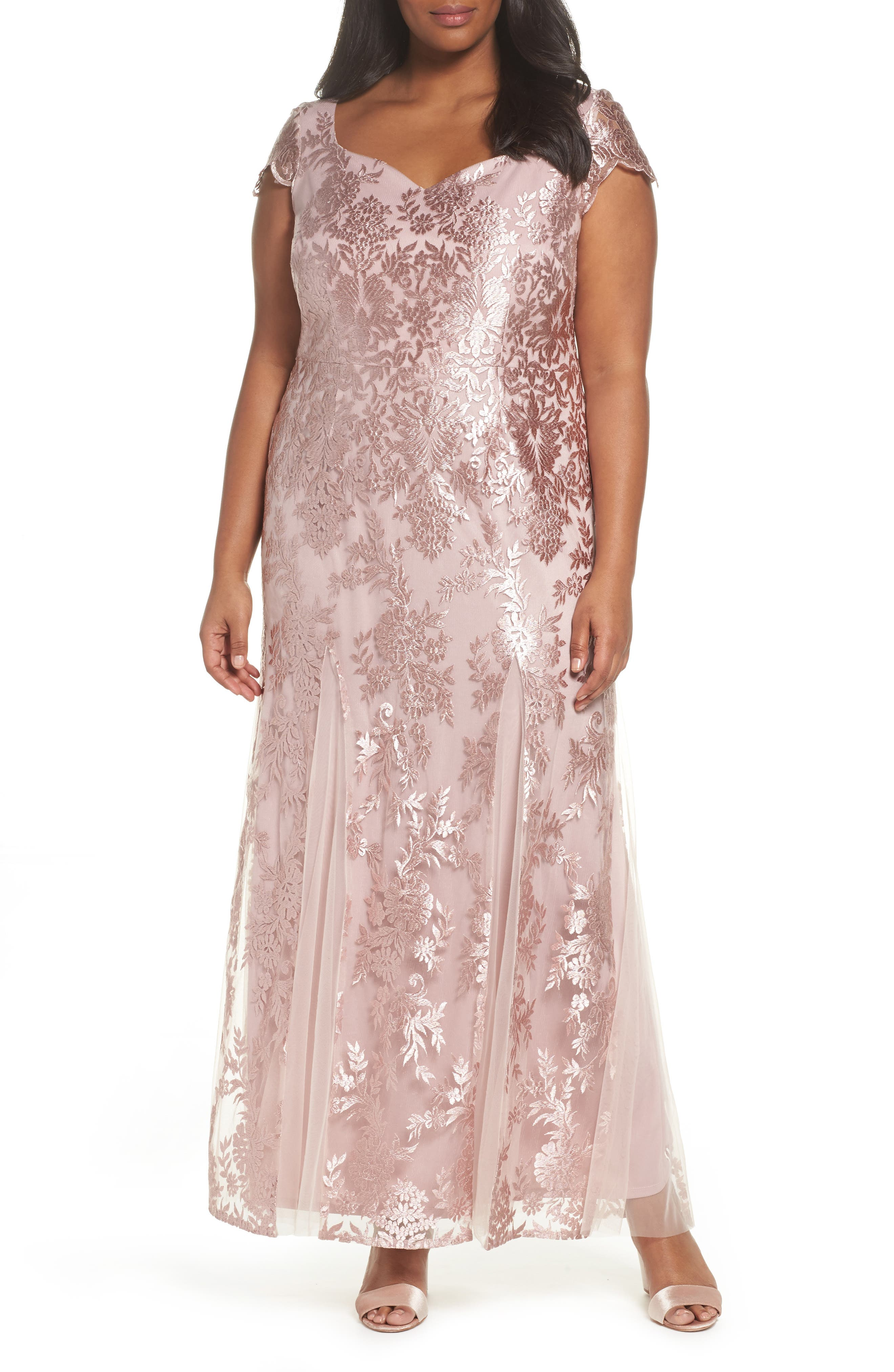 Lace A-Line Gown,                             Main thumbnail 1, color,                             DUSTY PINK