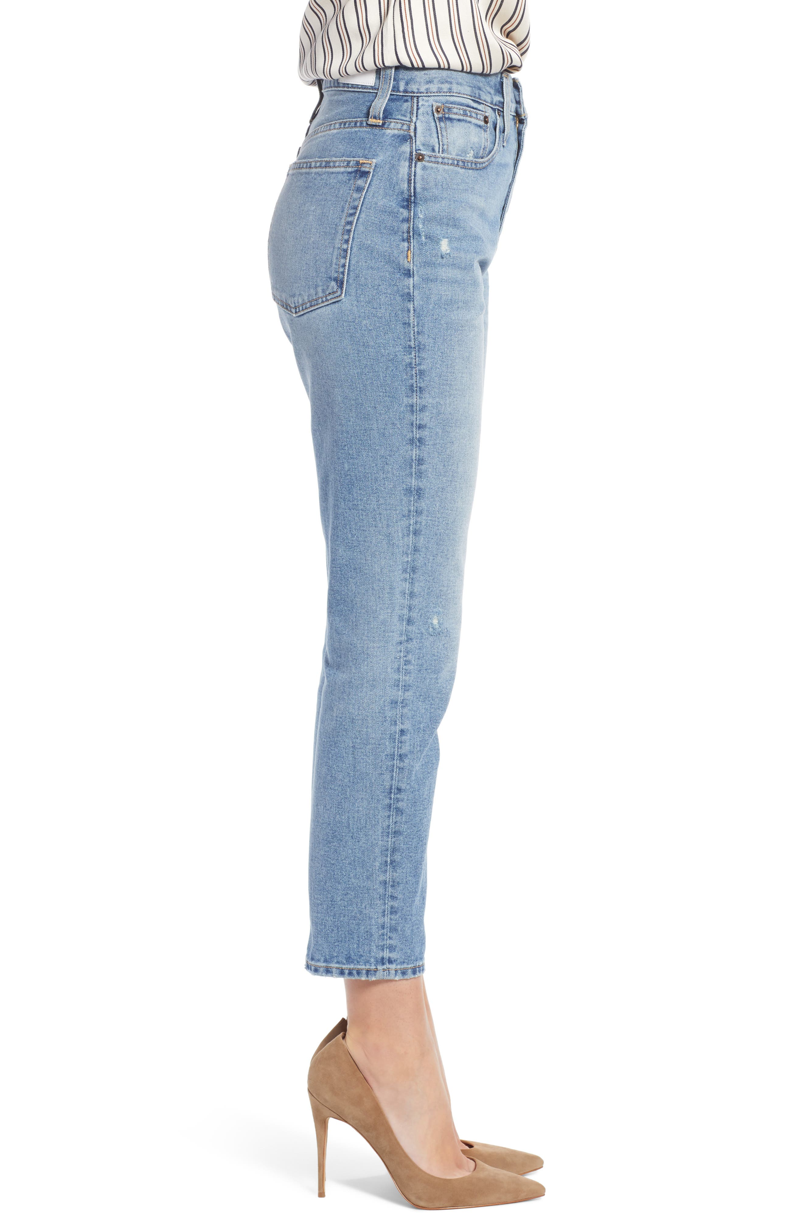 Cigarette Jeans,                             Alternate thumbnail 3, color,                             LIGHT INDIGO WASH