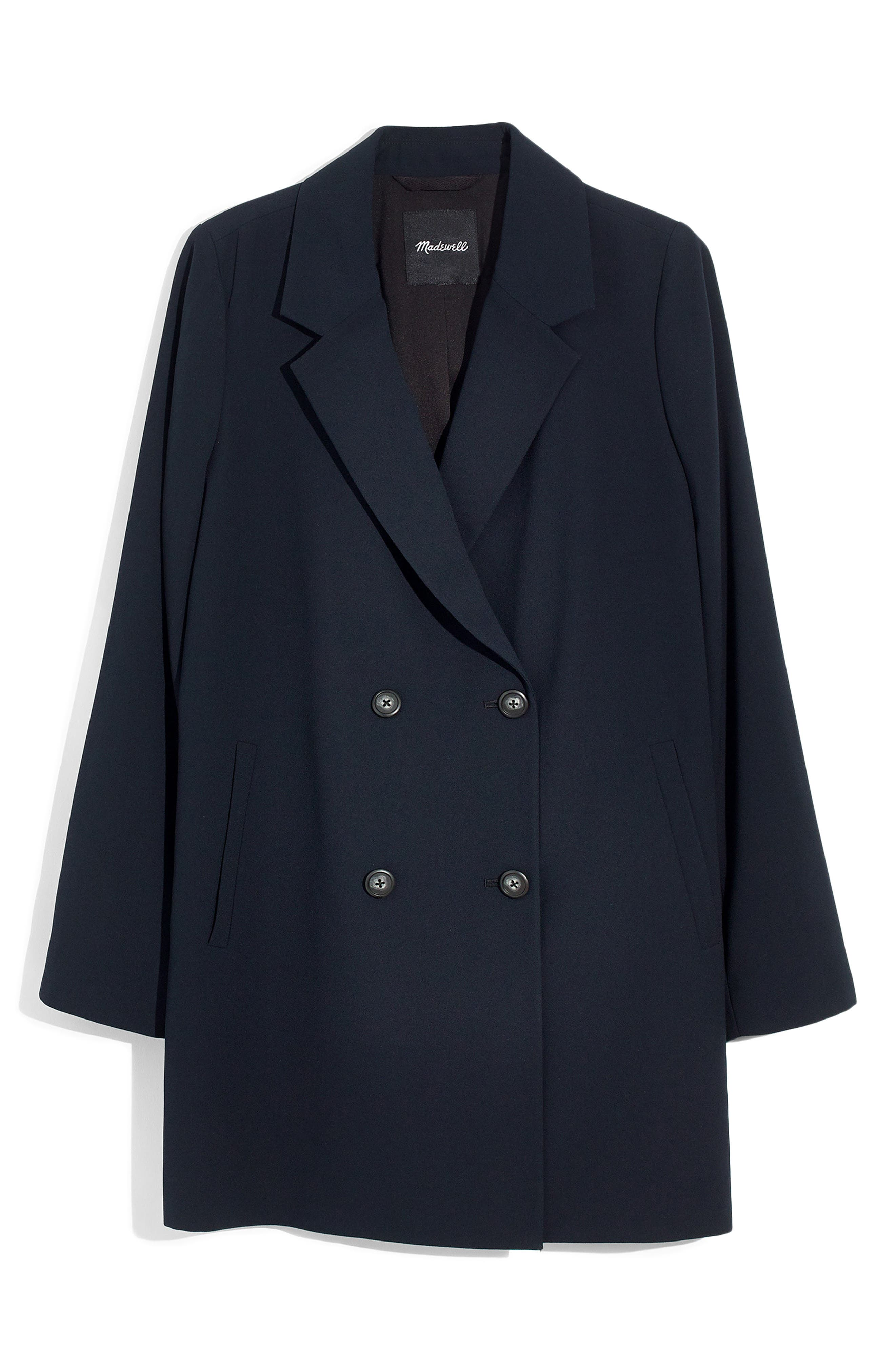 Caldwell Double Breasted Blazer,                             Alternate thumbnail 6, color,                             TRUE BLACK