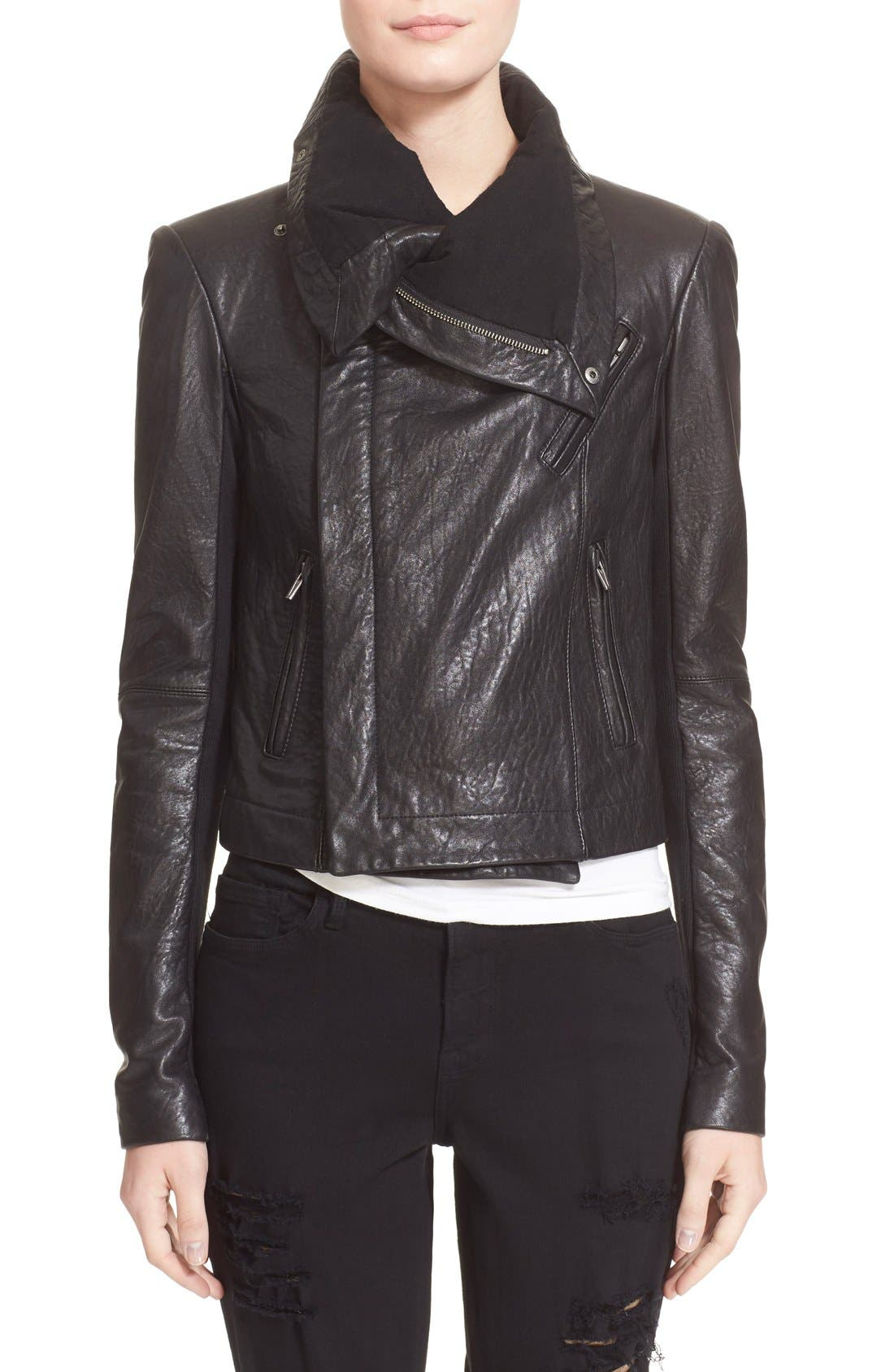 VEDA,                             'Max Classic' Leather Jacket,                             Main thumbnail 1, color,                             001
