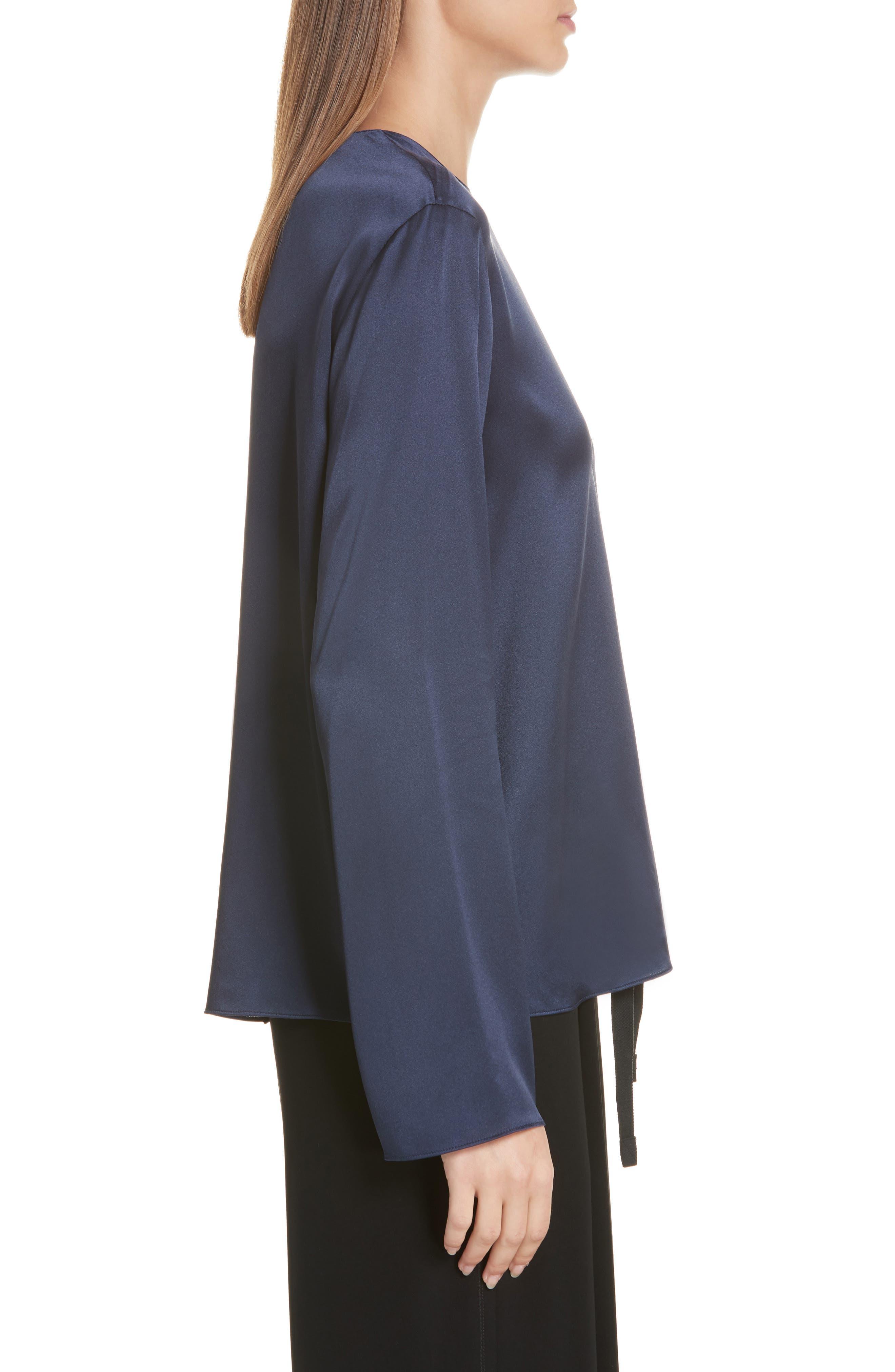 Tie Back Silk Blouse,                             Alternate thumbnail 3, color,                             MARINE