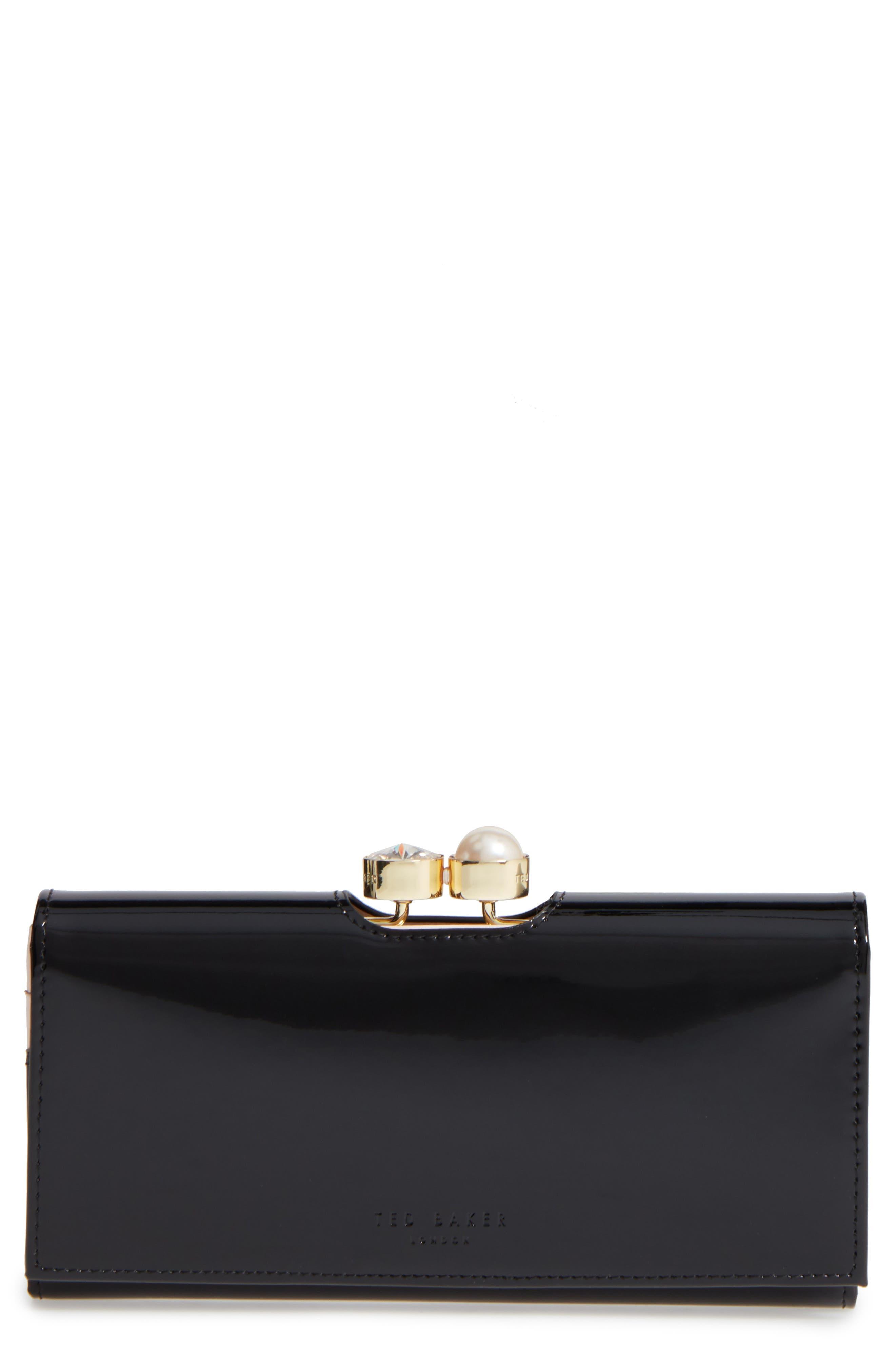 Leather Matinée Wallet,                         Main,                         color, 001