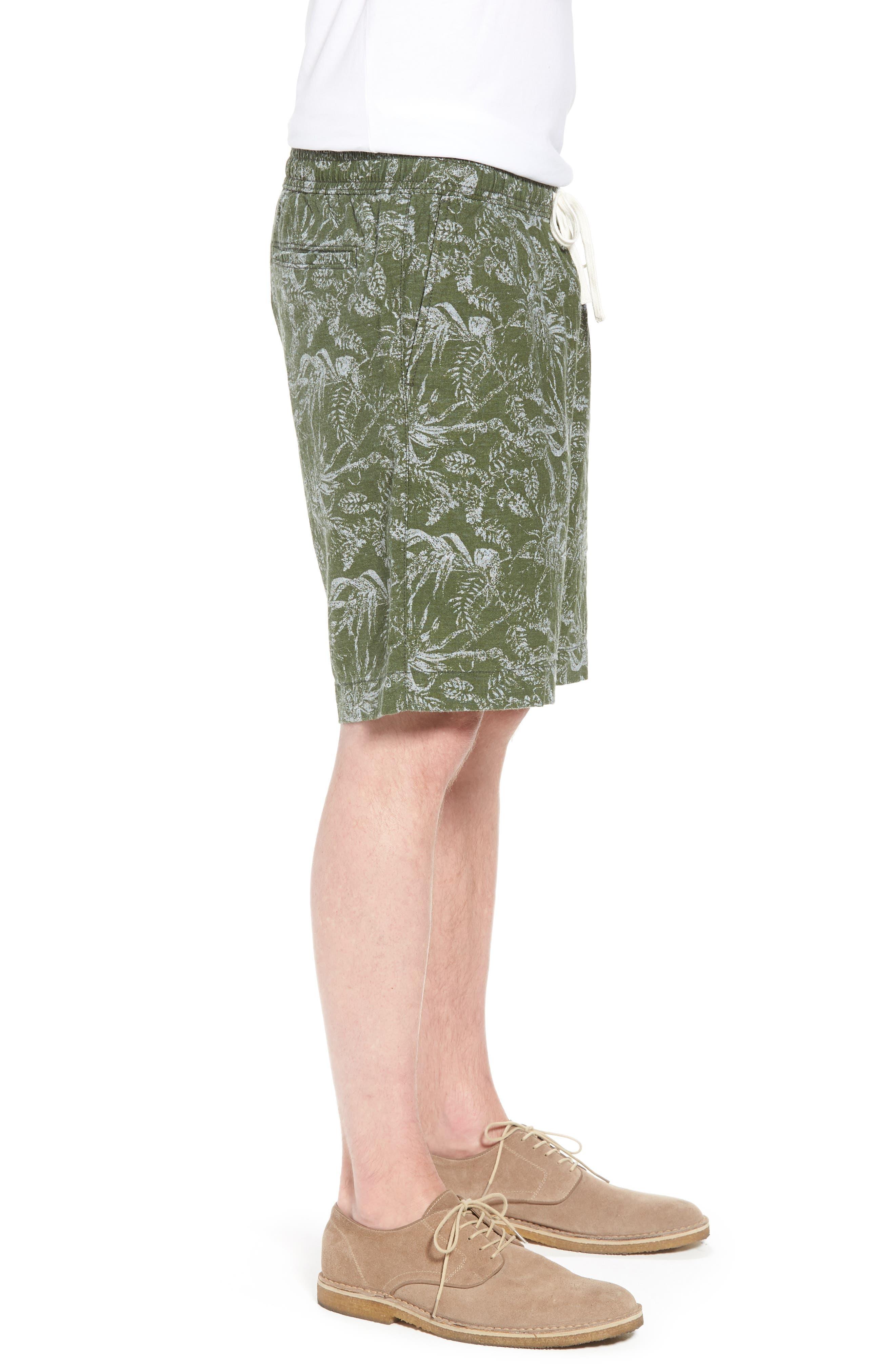 E-Waist Print Linen Blend Shorts,                             Alternate thumbnail 3, color,                             310