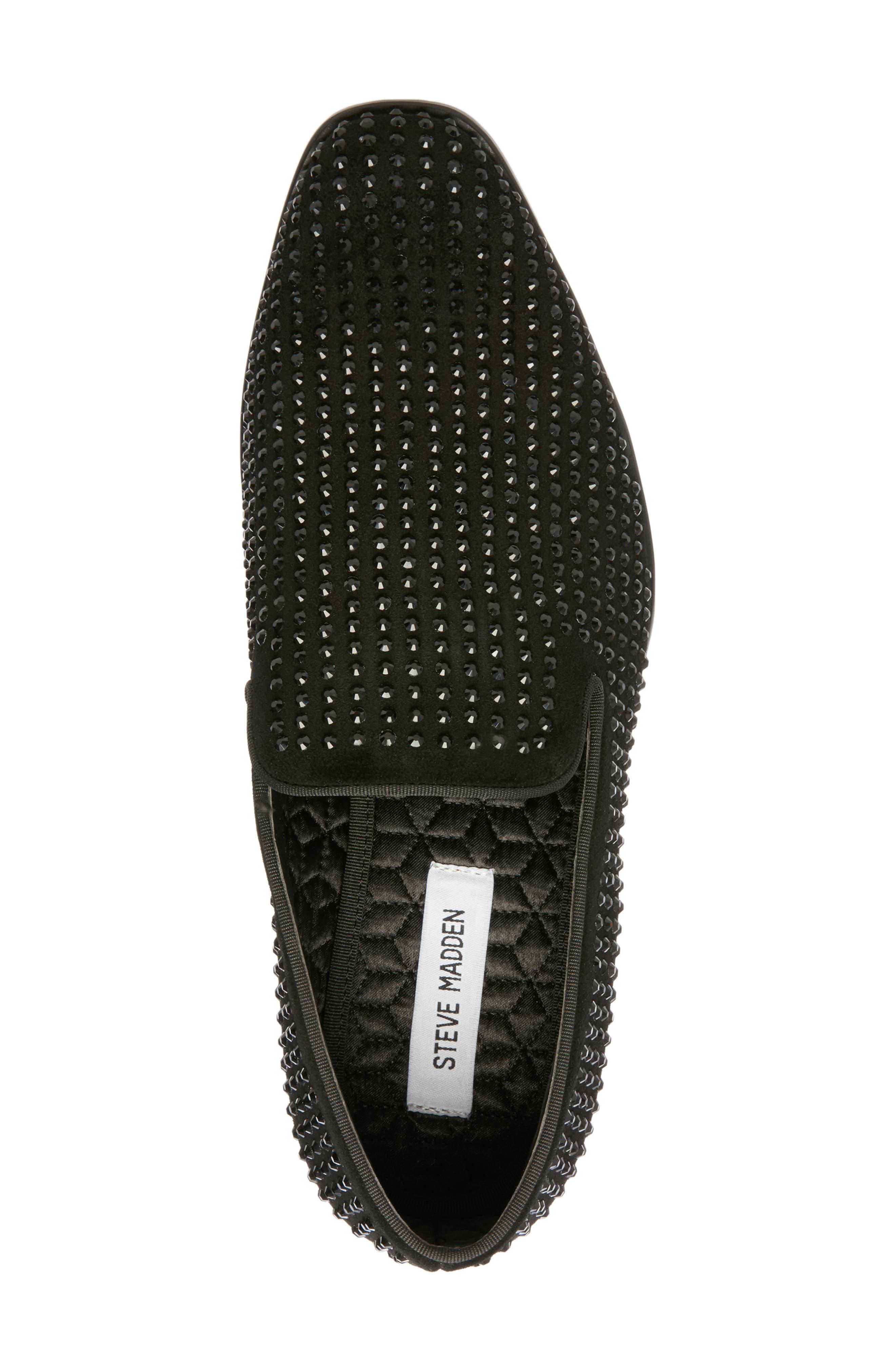 Falsetto Studded Venetian Loafer,                             Alternate thumbnail 5, color,                             BLACK