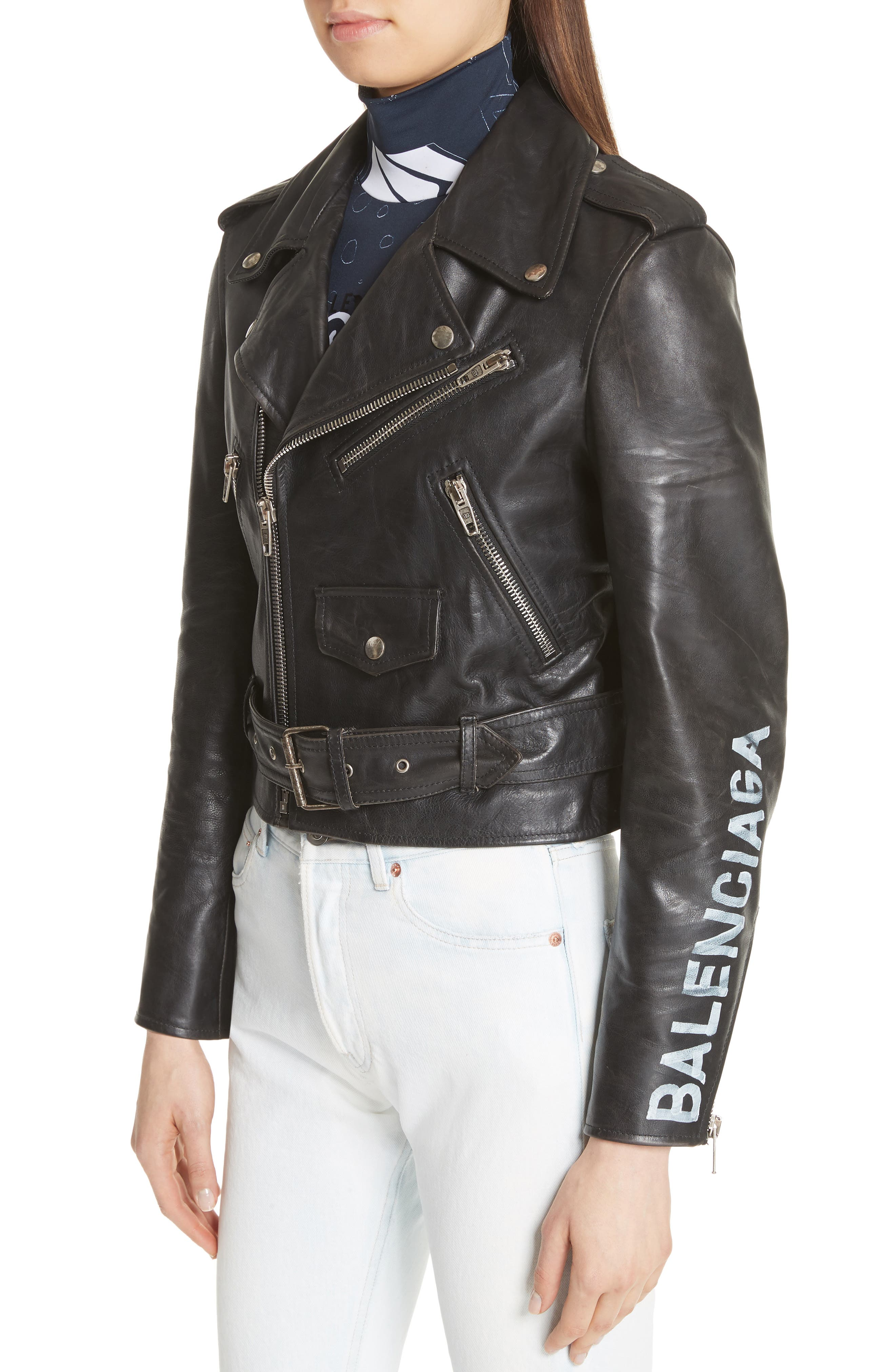 Logo Sleeve Leather Moto Jacket,                             Alternate thumbnail 4, color,                             BLACK