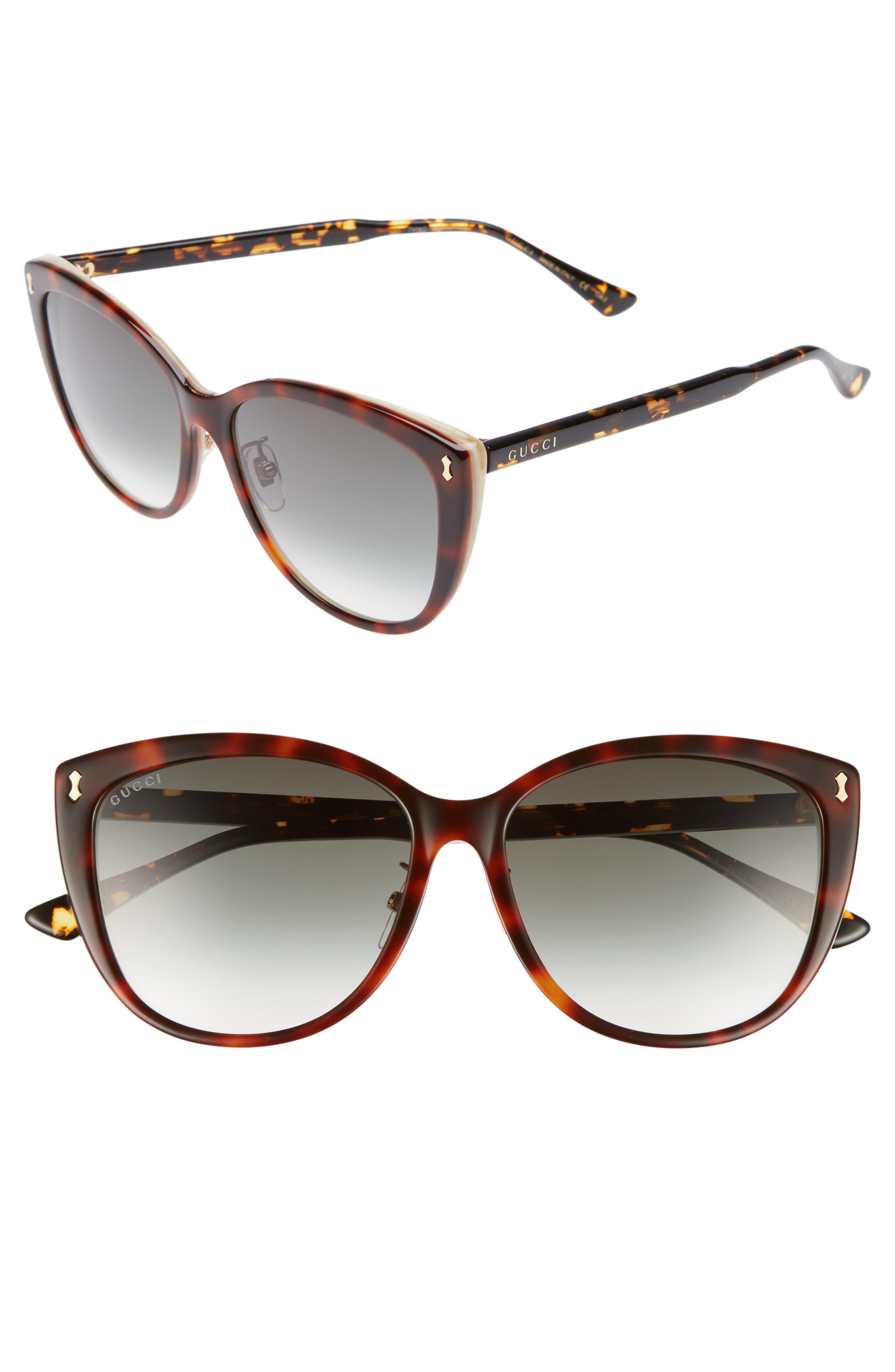 58mm Cat Eye Sunglasses,                             Main thumbnail 1, color,                             HAVANA