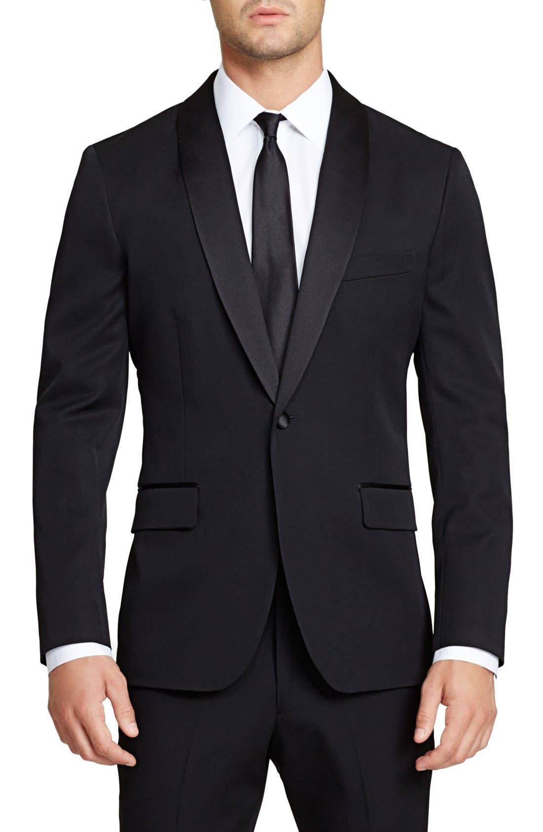 Trim Fit Wool Dinner Jacket,                             Main thumbnail 1, color,                             BLACK