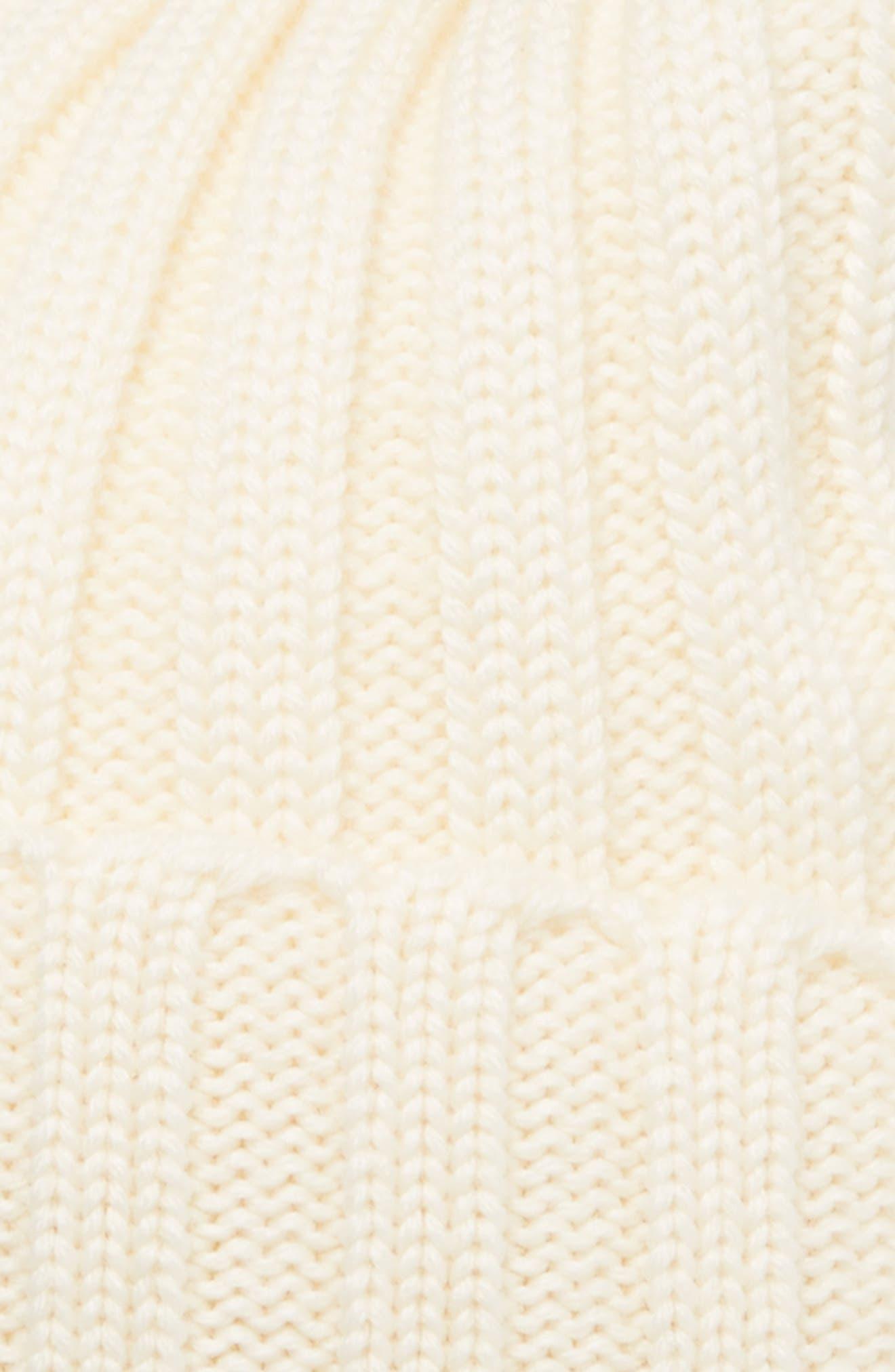 MONCLER,                             Genuine Fox Fur Pom Wool Beanie,                             Alternate thumbnail 2, color,                             IVORY