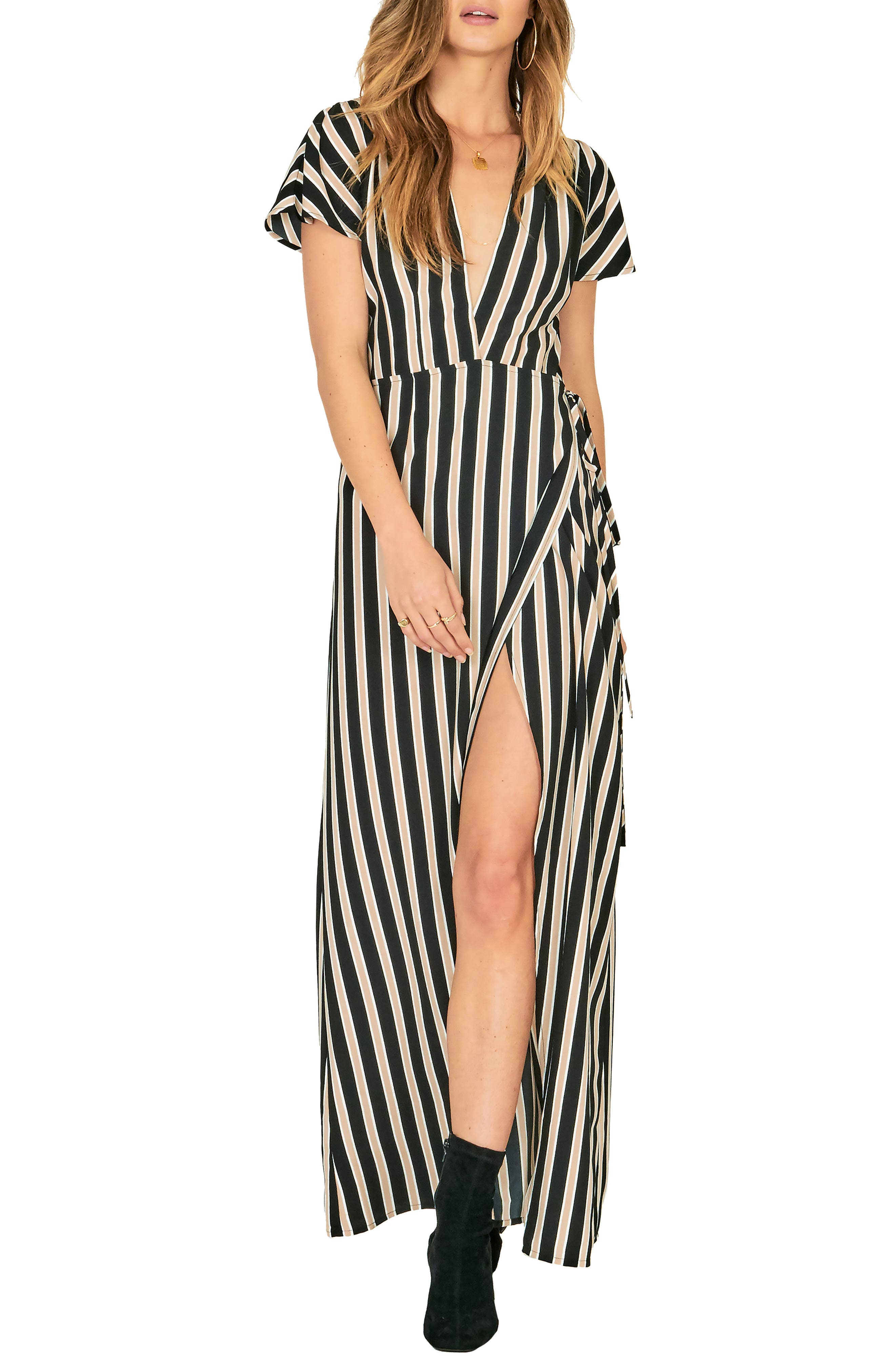 Amuse Society Fit To Be Tied Maxi Dress, Black