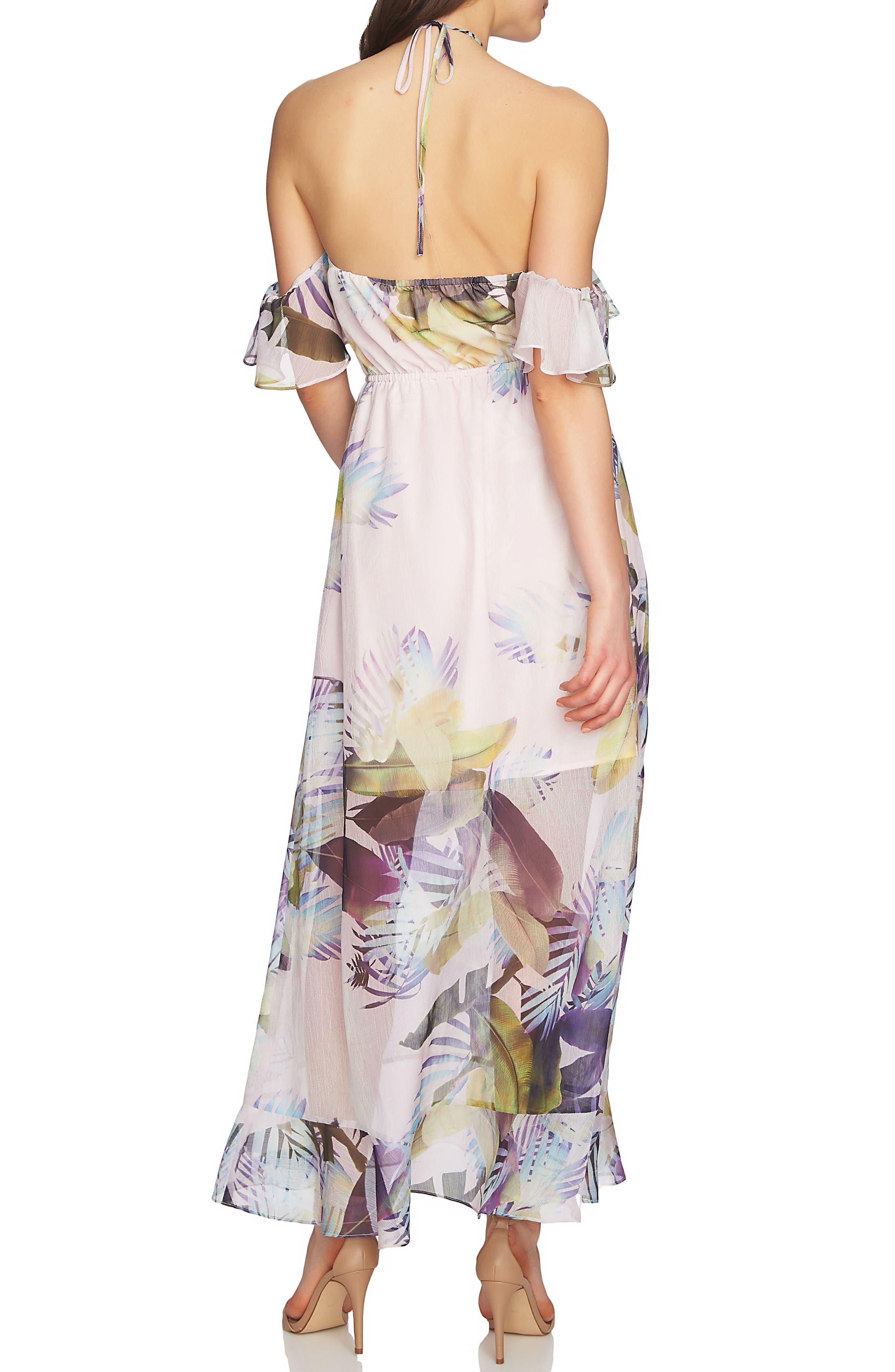 Danielle Tropical Print Cold Shoulder Maxi Dress,                             Alternate thumbnail 2, color,                             650