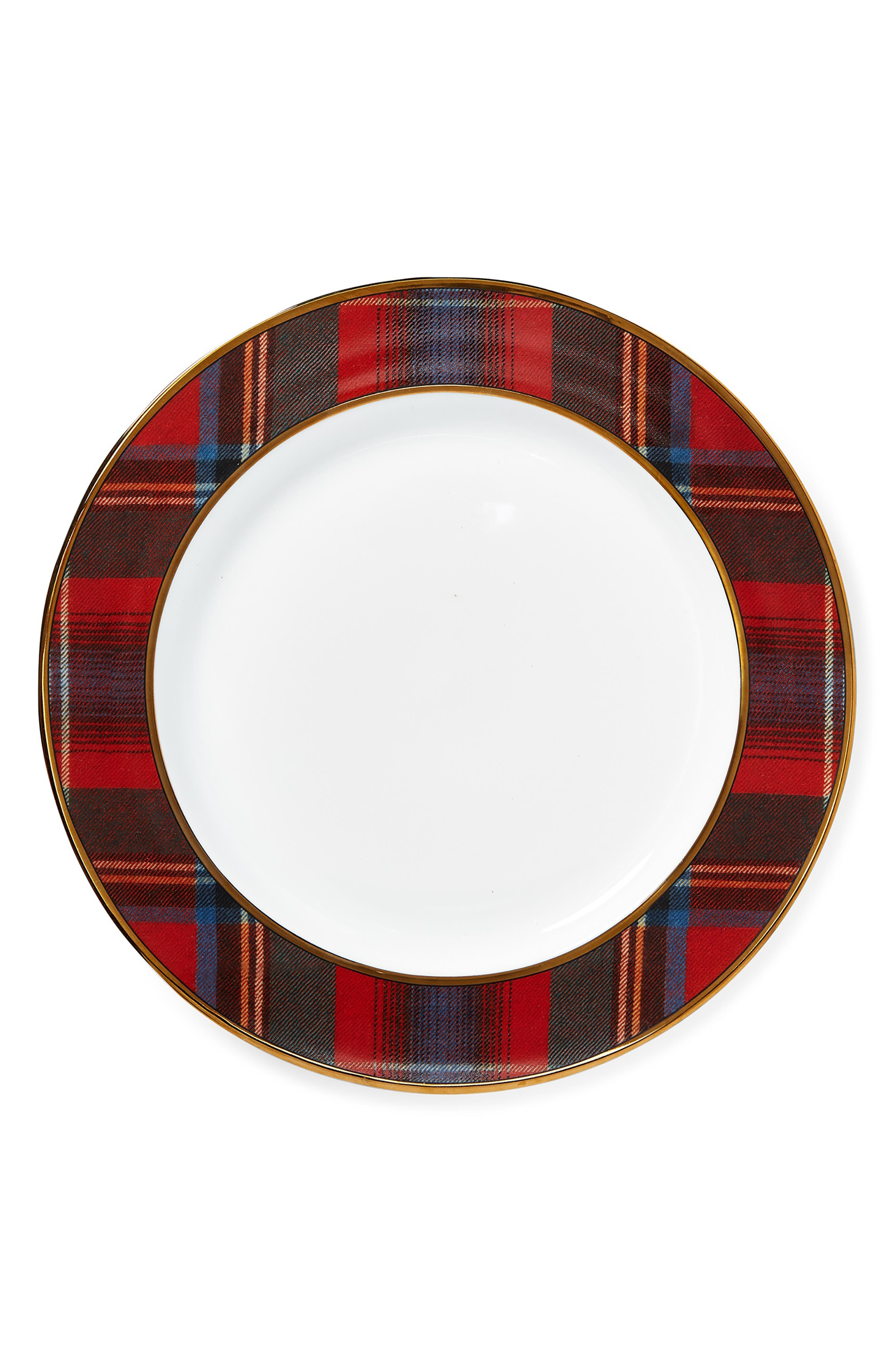 Alexander Dinner Plate, Main, color, RED/ GREEN PLAID