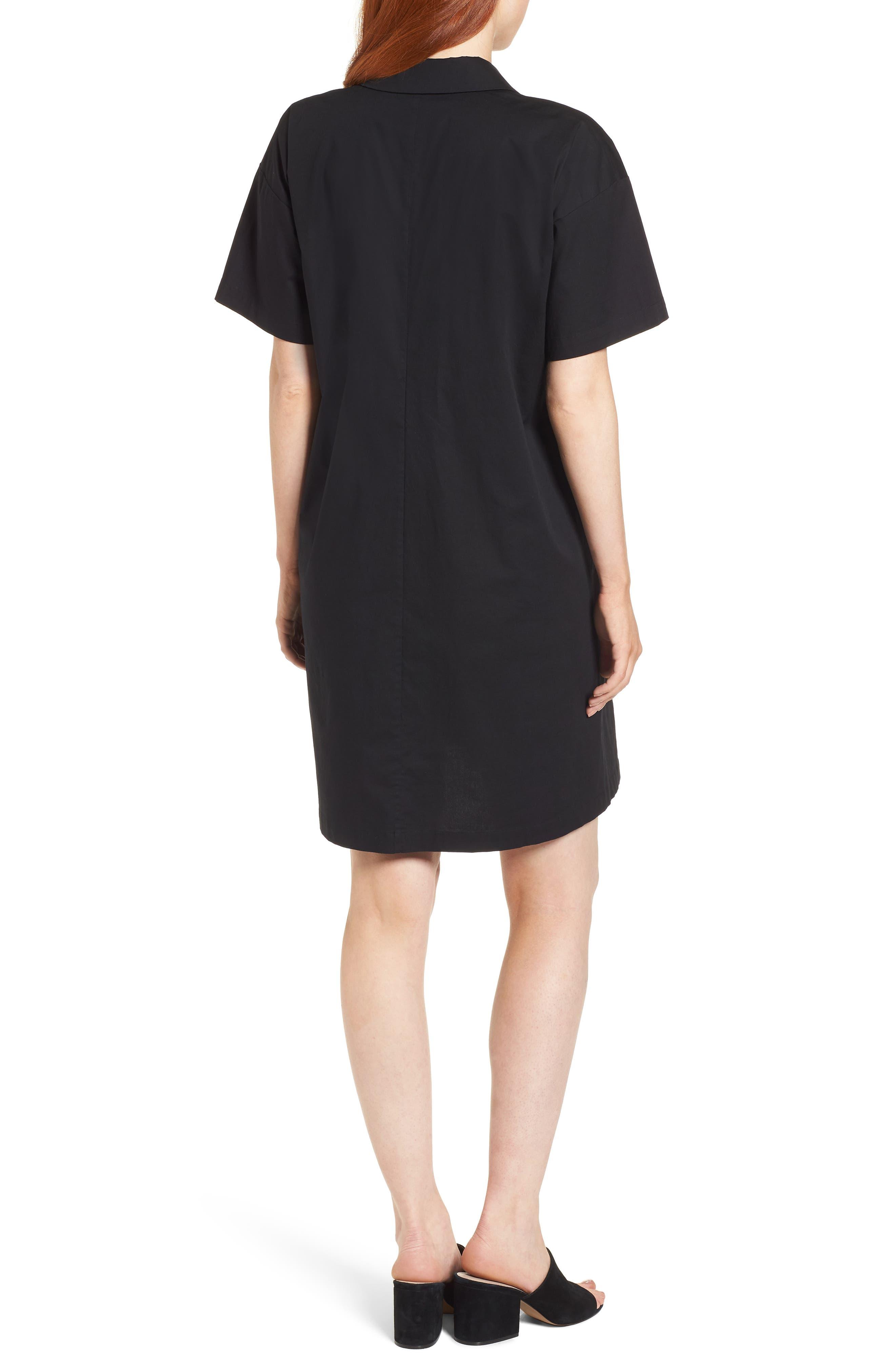 Organic Cotton Poplin Shirtdress,                             Alternate thumbnail 2, color,                             001