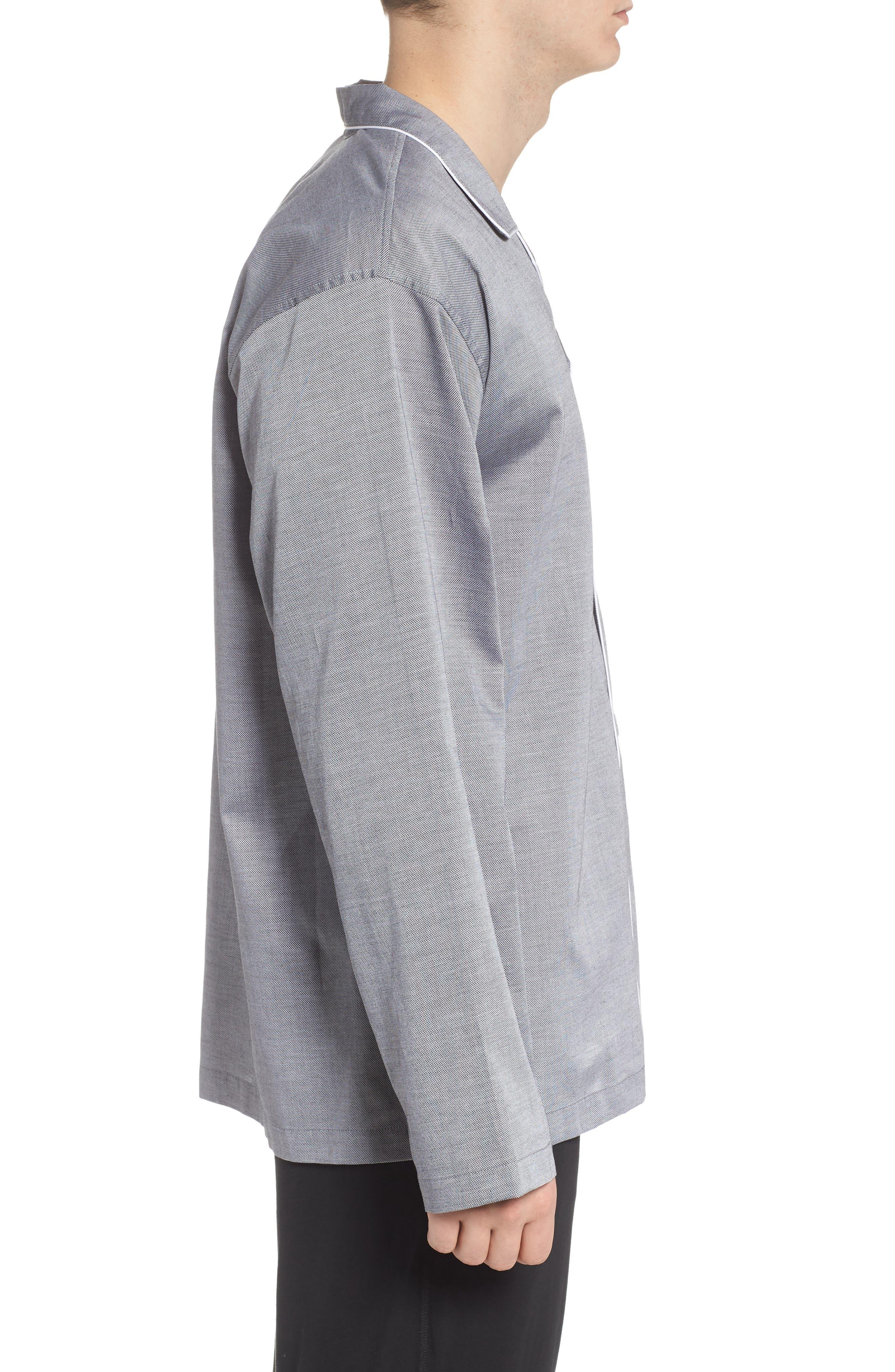 Pajama Top,                             Alternate thumbnail 4, color,                             BLACK ROYAL OXFORD
