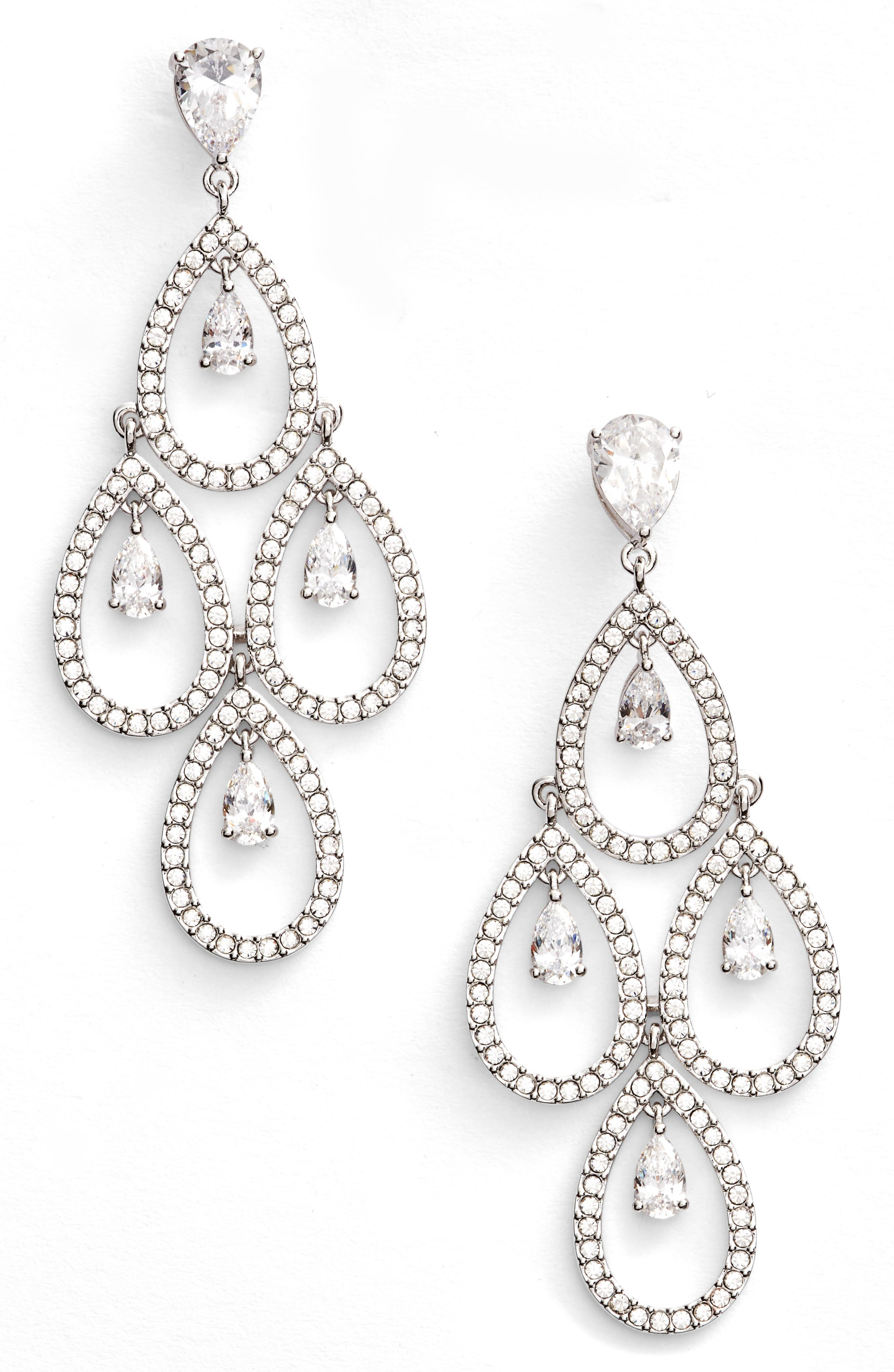 Crystal Chandelier Earrings,                         Main,                         color, SILVER