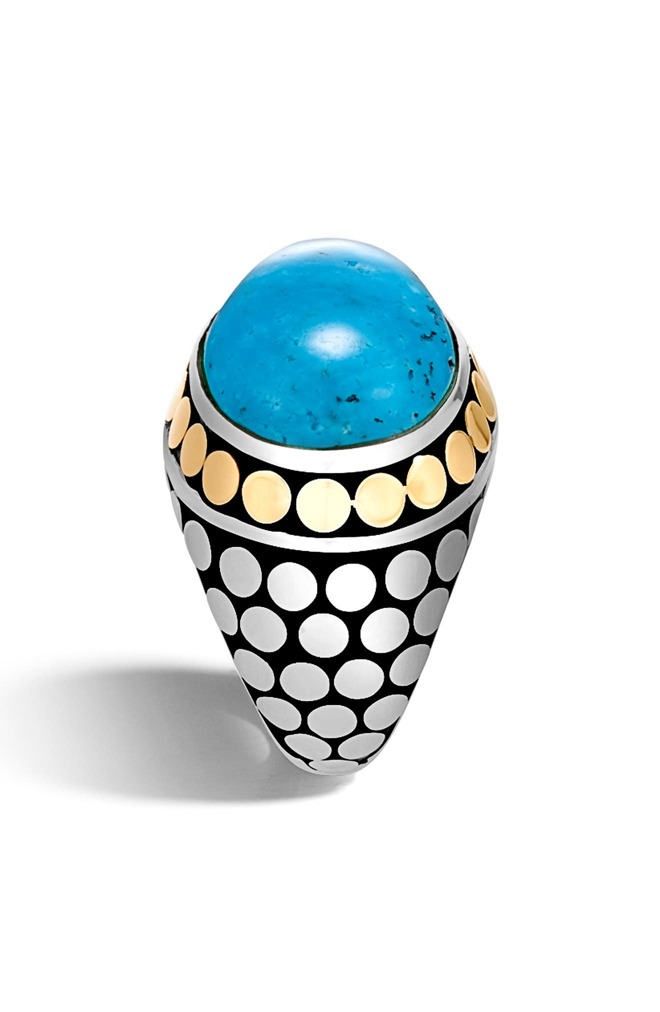 JOHN HARDY,                             Dot Silver & Turquoise Dome Ring,                             Alternate thumbnail 3, color,                             SILVER/ GOLD/ TURQUOISE