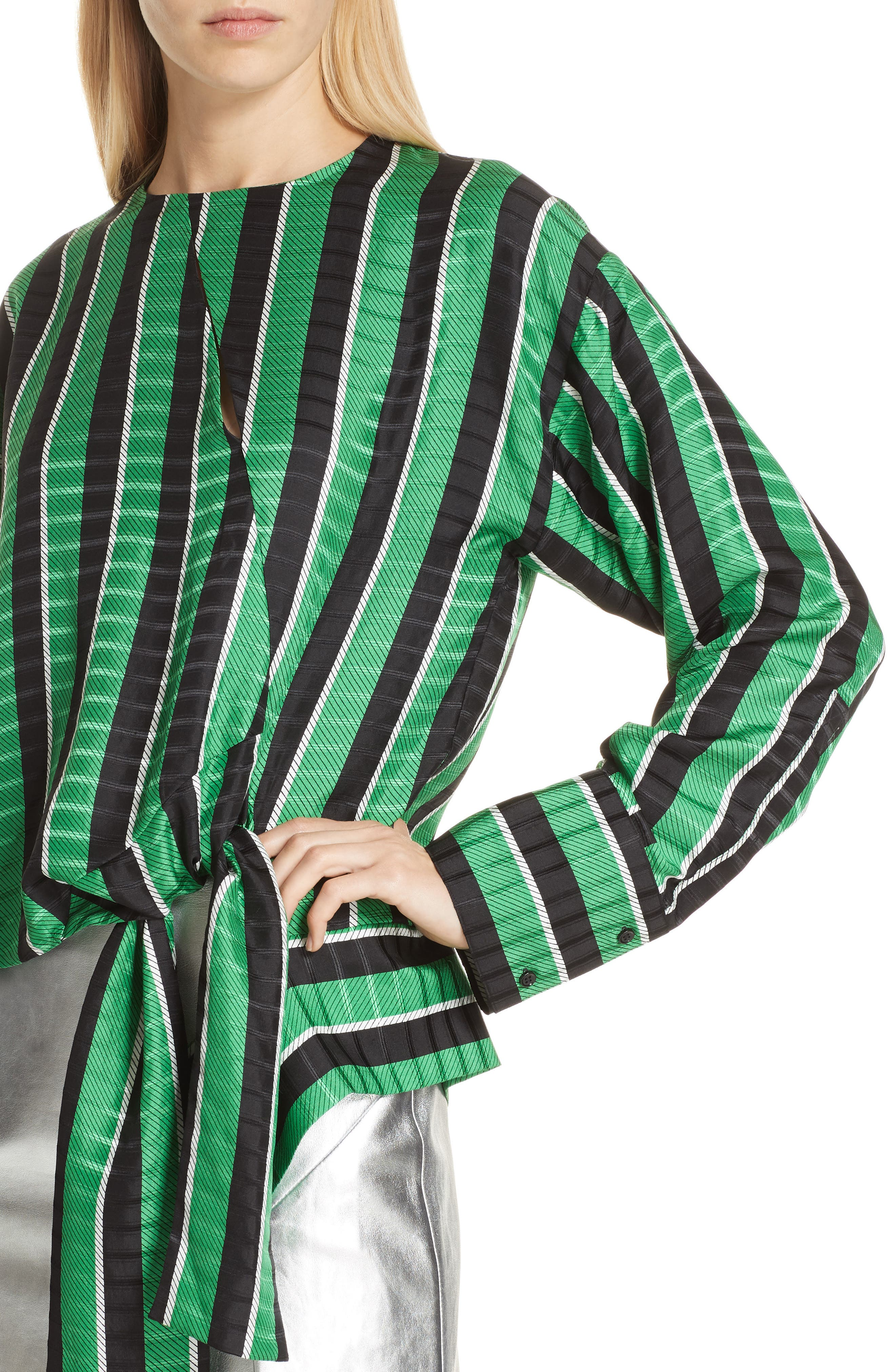 Tie Waist Stripe Blouse,                             Alternate thumbnail 4, color,                             310