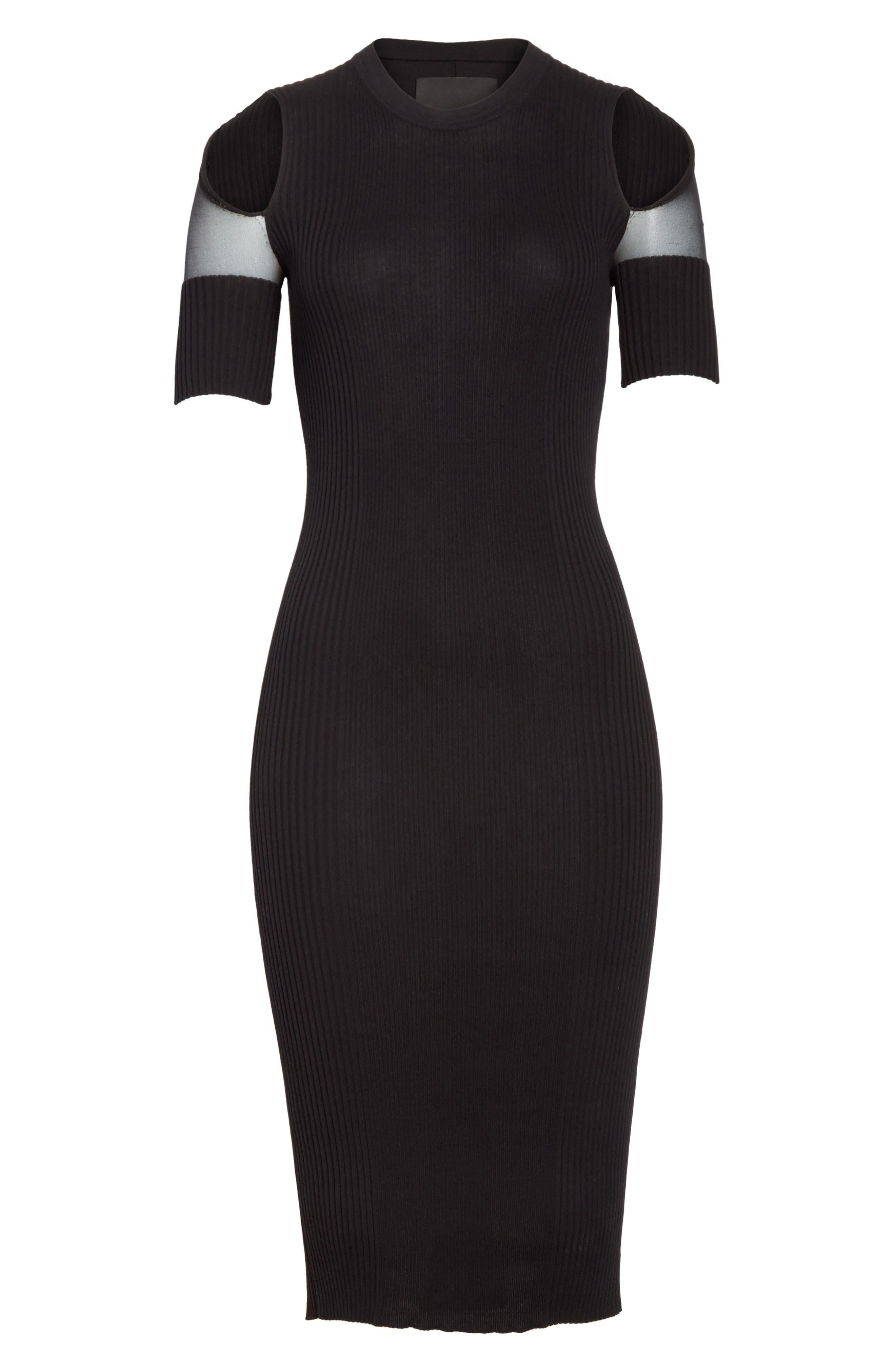 Knit Cold Shoulder Dress,                             Alternate thumbnail 6, color,                             001