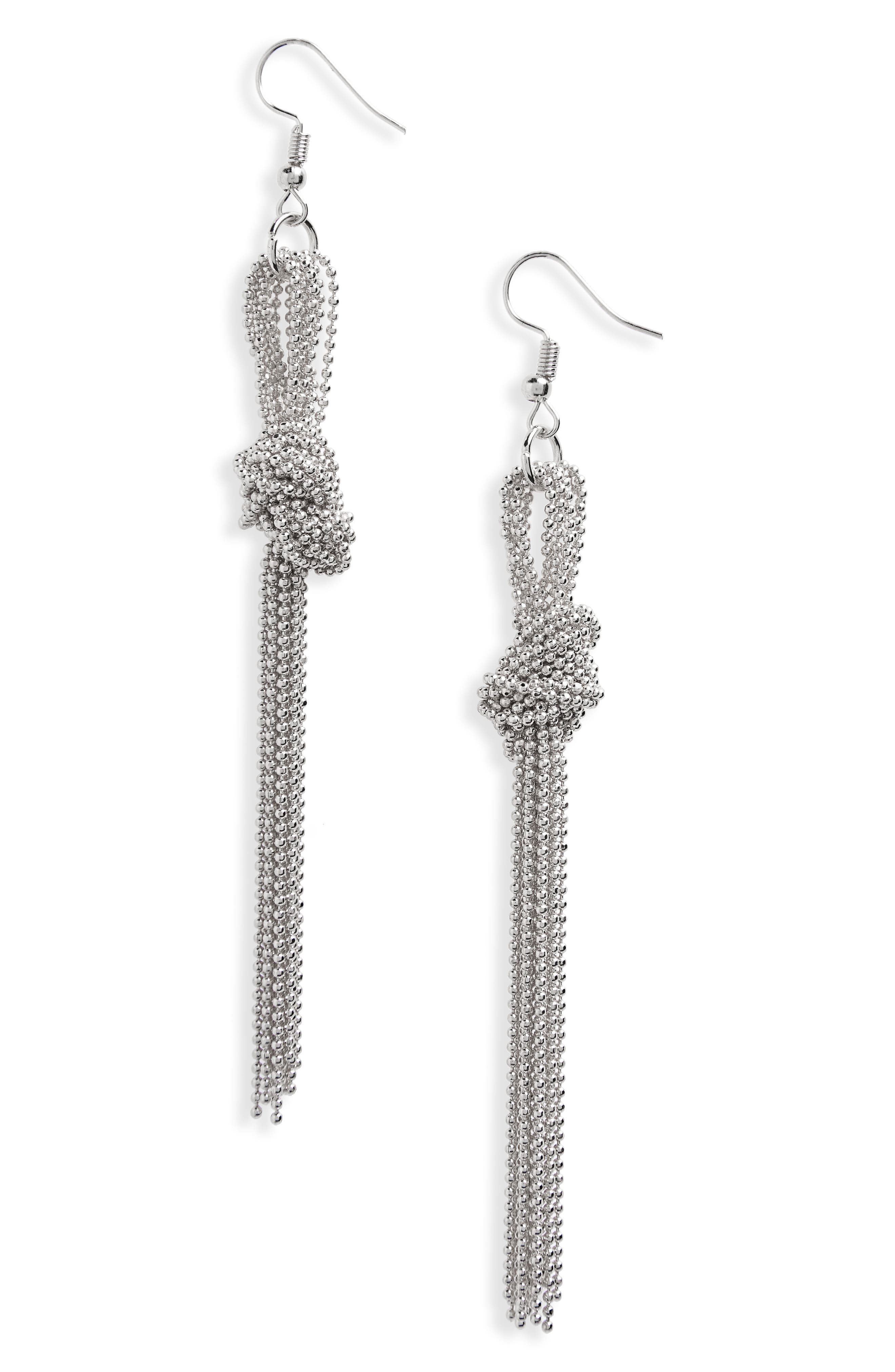 Knotted Bead Chain Linear Earrings,                             Main thumbnail 1, color,                             040
