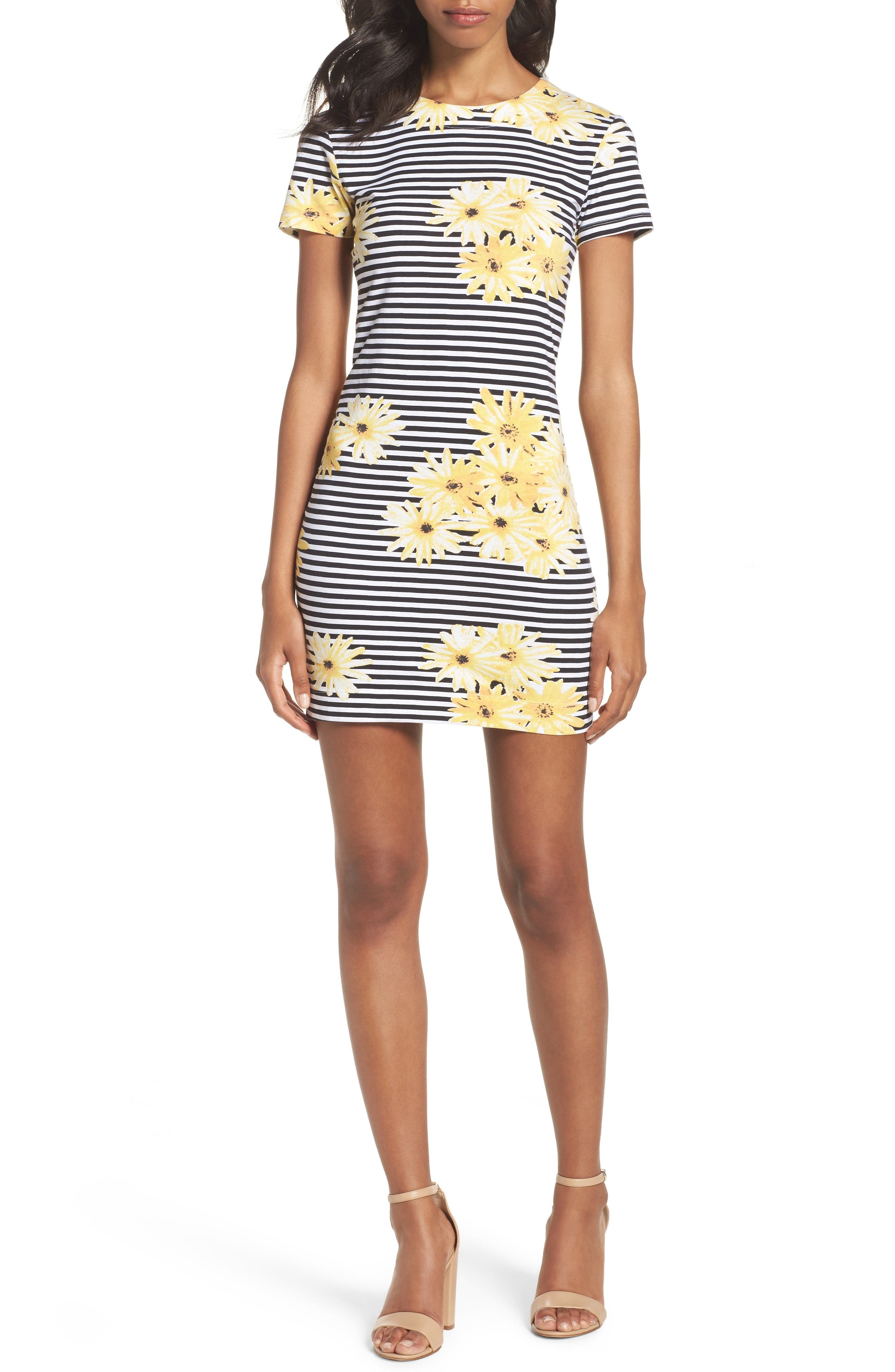 Sunflower Stripe Sheath Dress,                             Alternate thumbnail 5, color,                             007