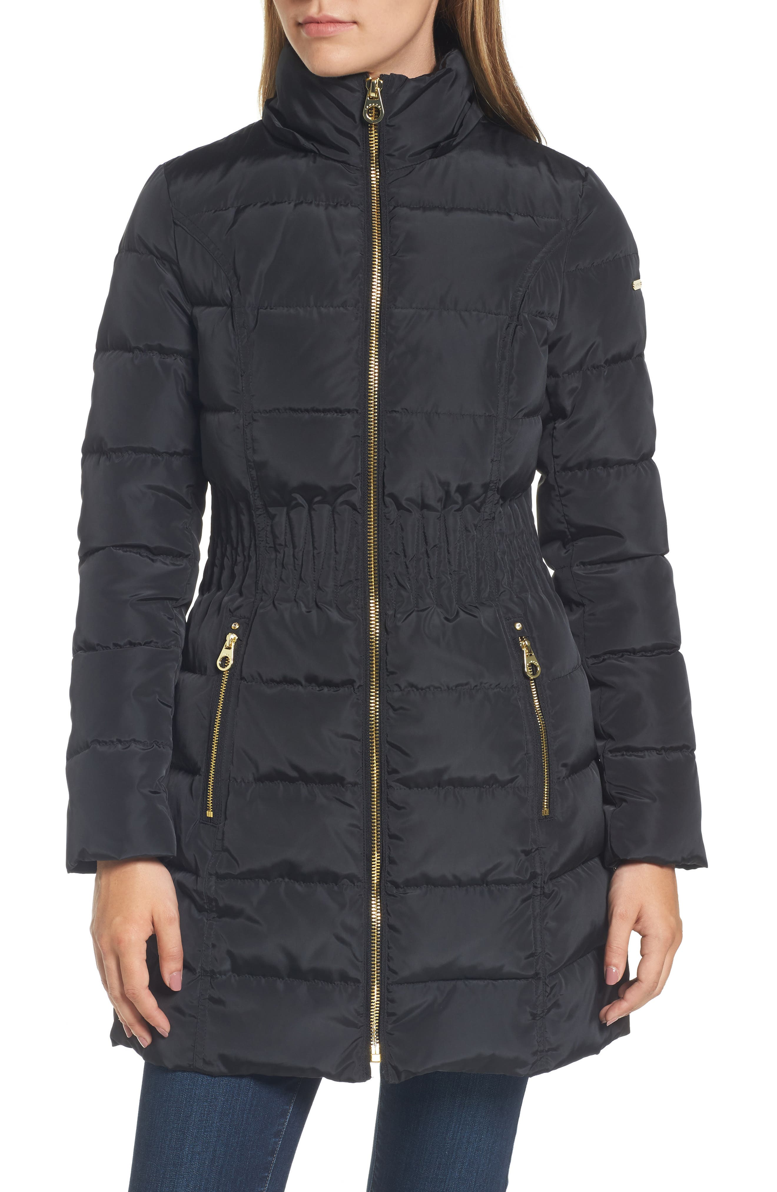 Hooded Quilted Jacket with Faux Fur Trim,                             Alternate thumbnail 4, color,                             001