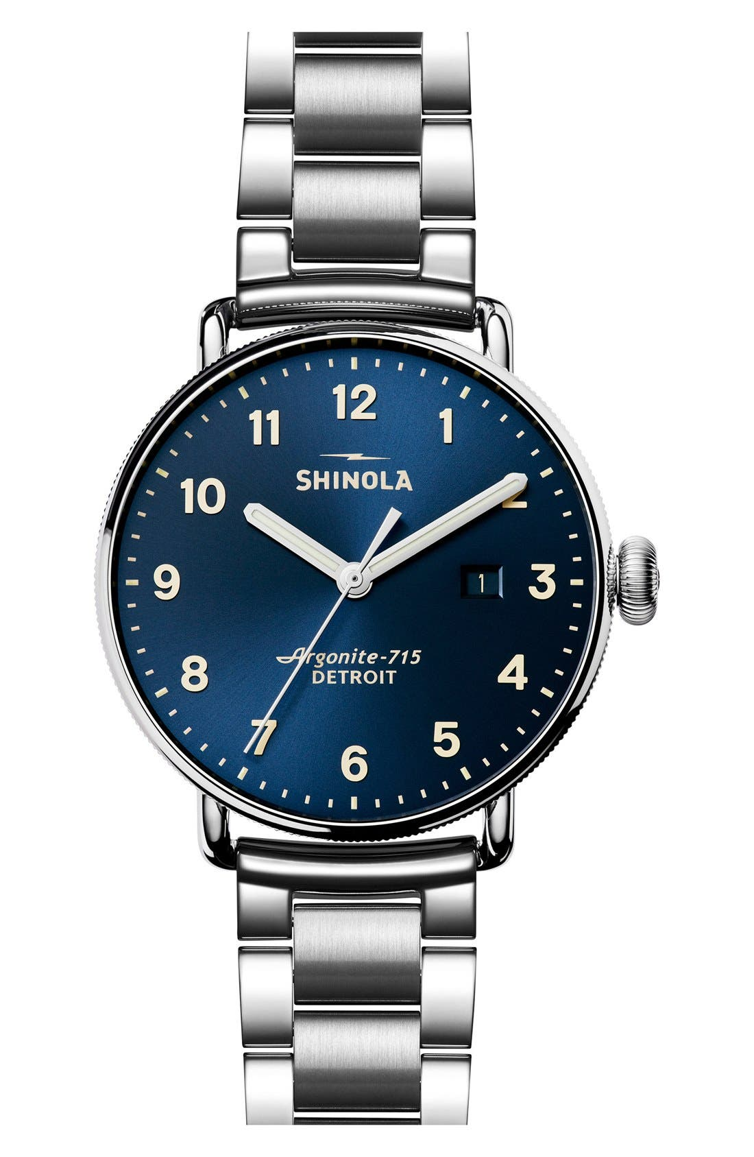 The Canfield Bracelet Watch, 43mm,                             Main thumbnail 1, color,                             SILVER/ MIDNIGHT BLUE