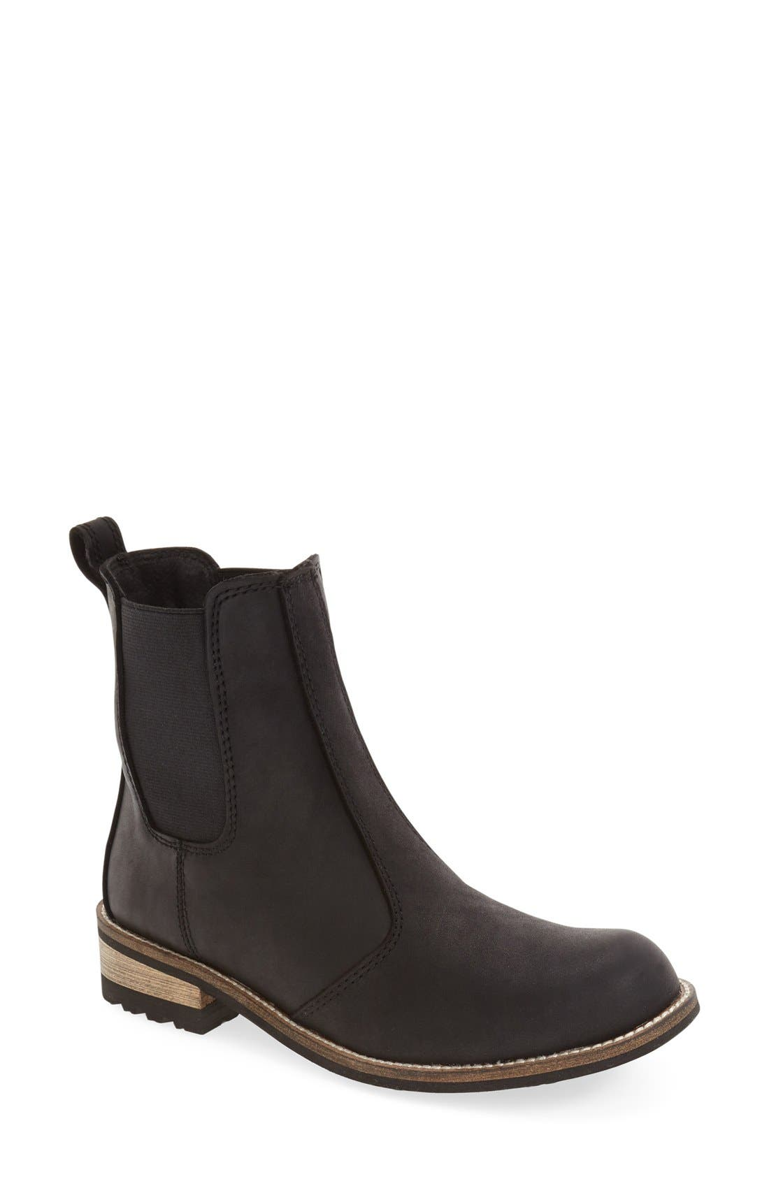 'Alma' Waterproof Chelsea Boot,                             Main thumbnail 1, color,                             BLACK LEATHER